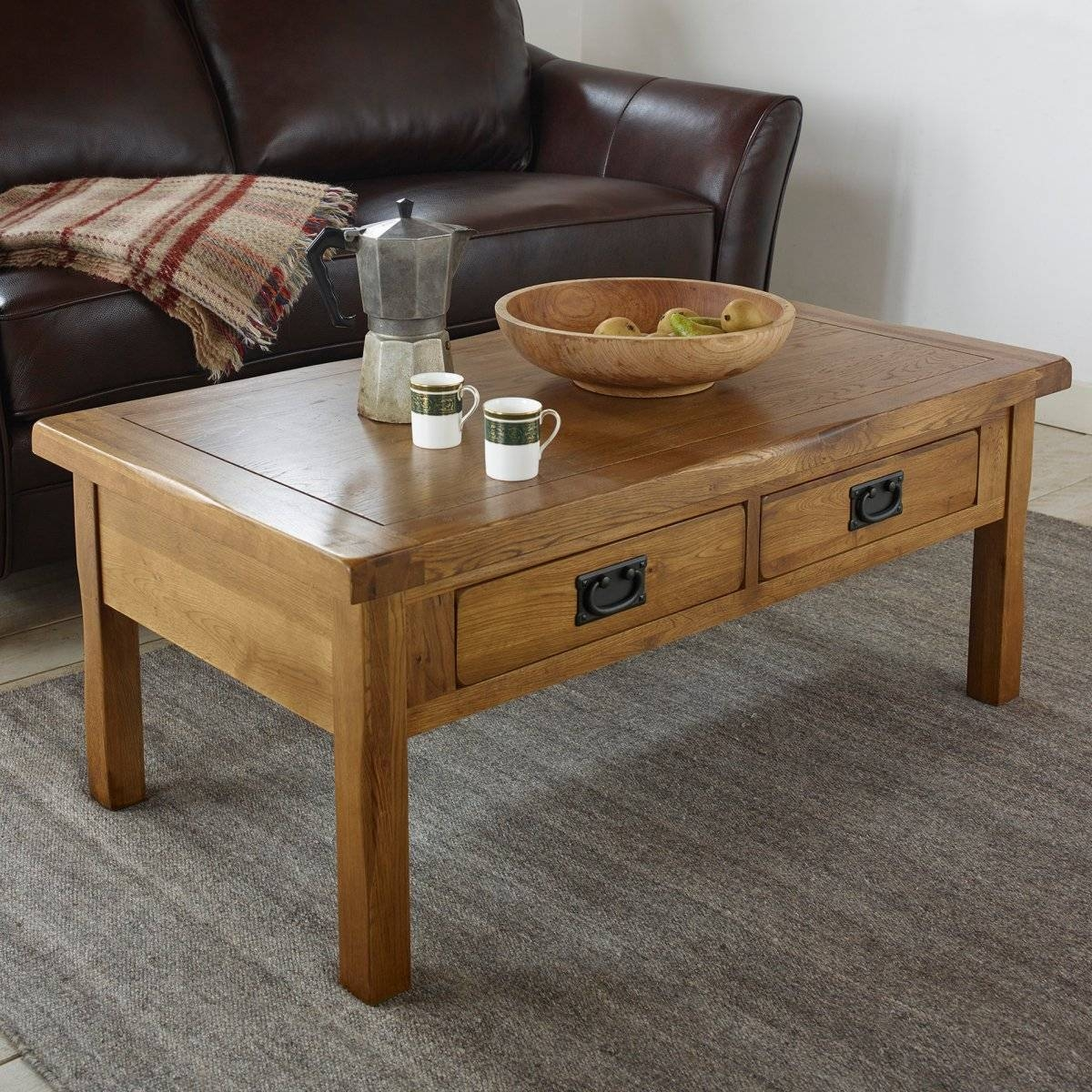 Original Rustic 4 Drawer Coffee Table In Solid Oak Inside Oak Coffee Table With Storage (View 10 of 15)