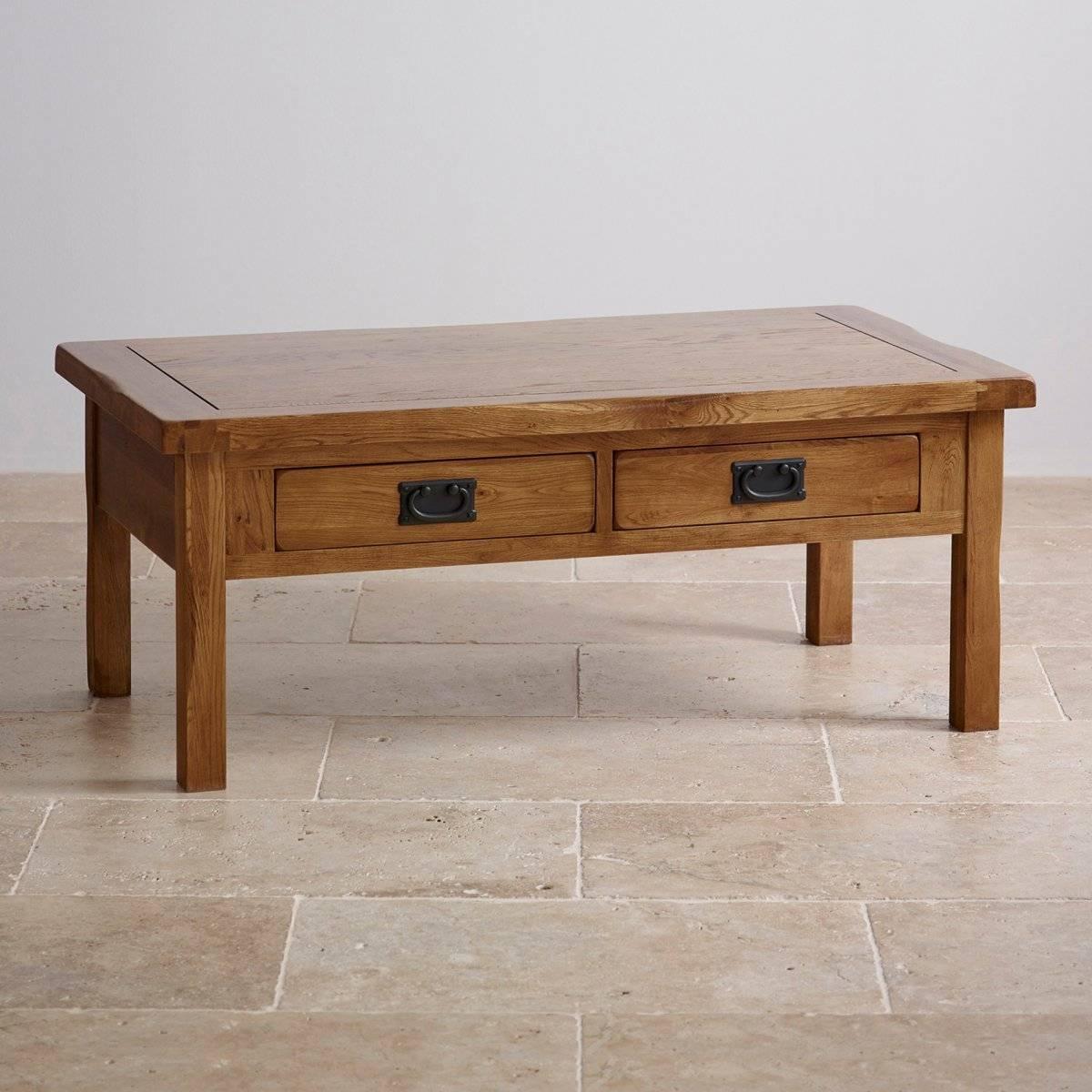 Original Rustic 4 Drawer Coffee Table In Solid Oak Regarding Oak Wood Coffee Tables (View 2 of 15)