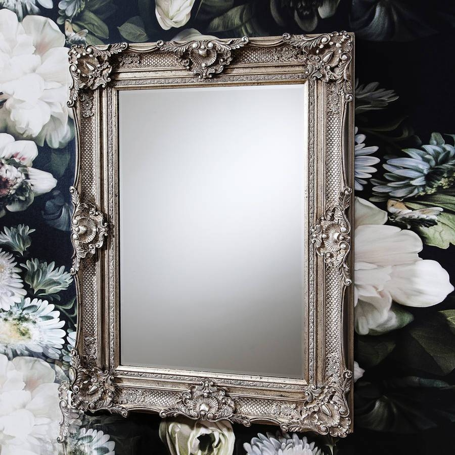 Ornate Antique Silver Wall Mirrorprimrose & Plum pertaining to Ornate Leaner Mirrors (Image 12 of 15)