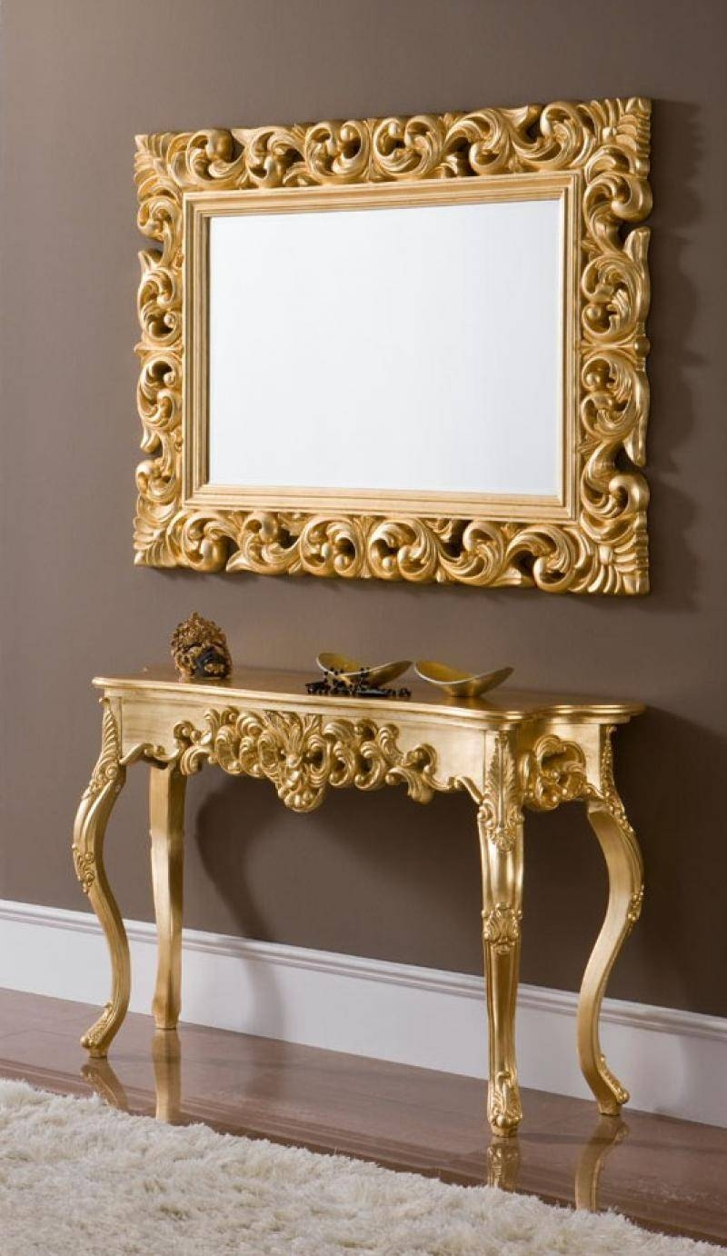 Ornate Console Table With An Optional Mirror In Silver Or Gold in Mirrors Console Table (Image 13 of 15)