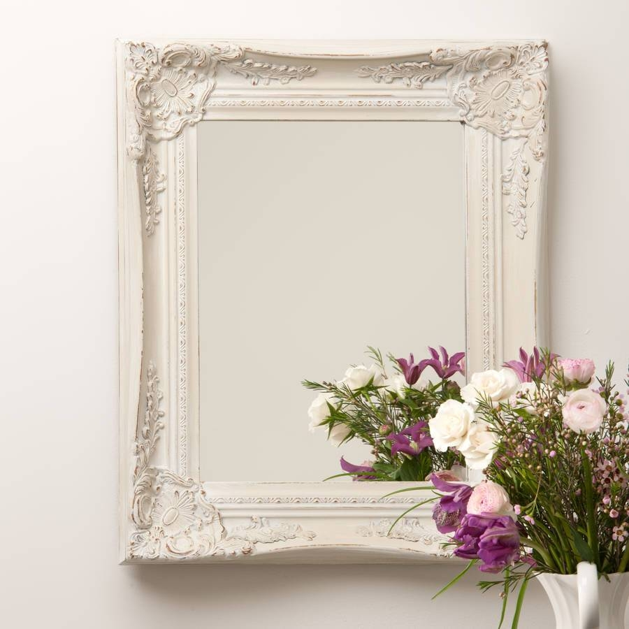 Ornate French Style White Distressed Mirrorhand Crafted Regarding French Style Mirrors (View 11 of 15)