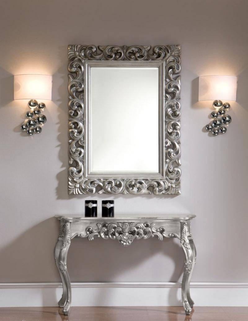 Ornate Mirror In Silver Colour Finish regarding Silver Ornate Mirrors (Image 14 of 15)