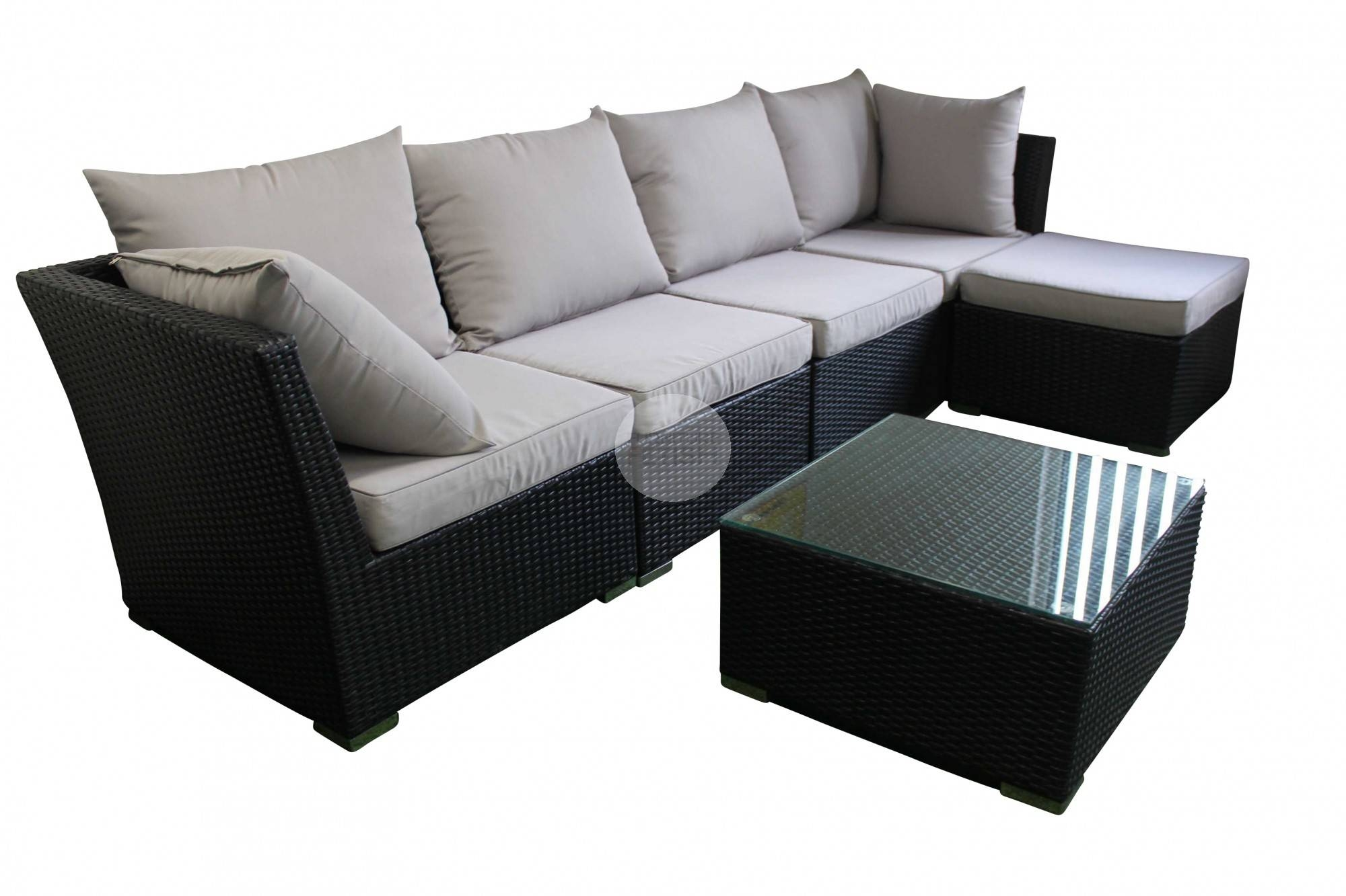 Outdoor Sofa Lounge With Chaise & Coffee Table – Rattan Wicker Throughout Black Wicker Sofas (View 11 of 15)
