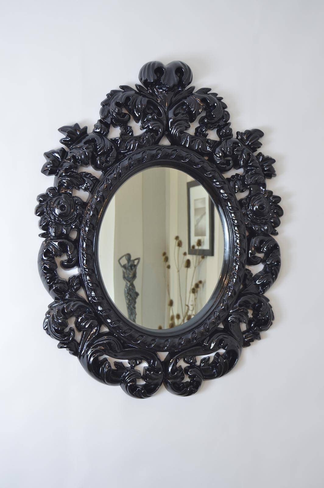 Oval Black Framed Mirror – Harpsounds.co with regard to Antique Black Mirrors (Image 11 of 15)