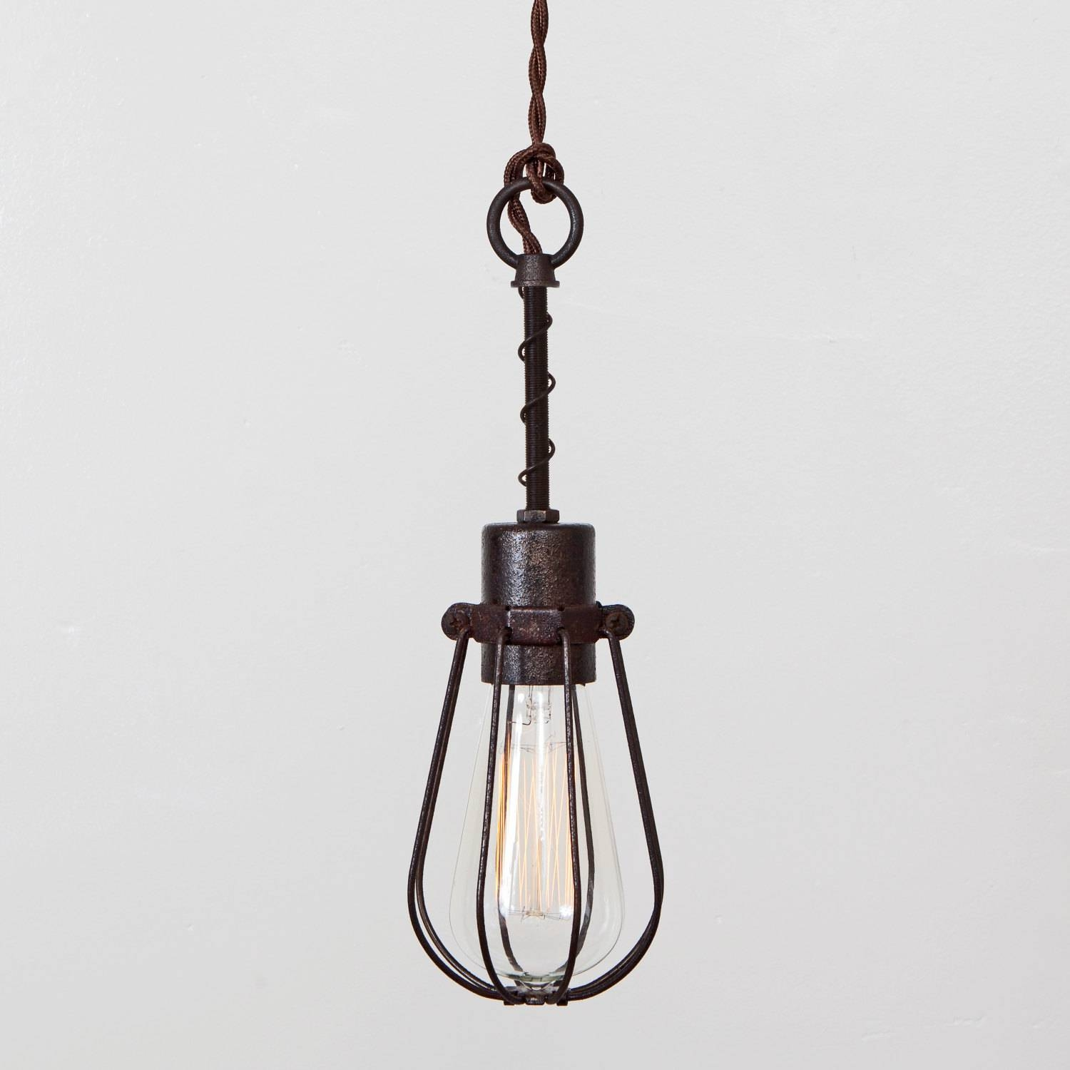Oval Bulb Cage Light Pendant Light Industrial Hanging Light throughout Plugin Ceiling Pendant Lights (Image 9 of 15)