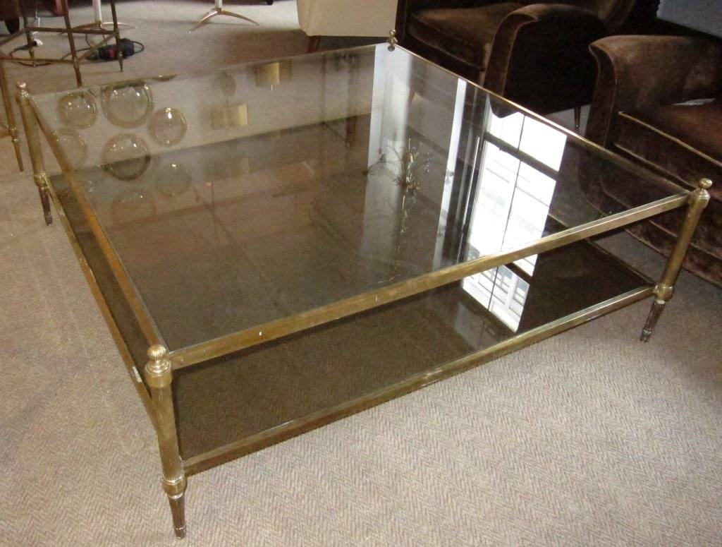 Oversized Two Tiers Brass Coffee Table. At 1Stdibs for Huge Coffee Tables (Image 14 of 15)