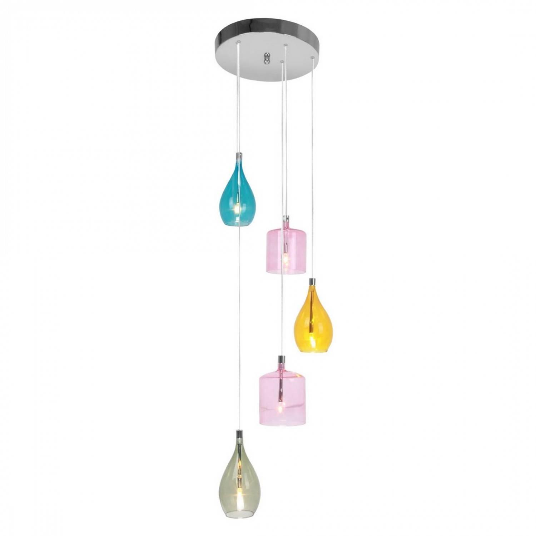 Own This Bonsoni Multi Coloured Glass Chrome 5 Pendant Light with Multi Coloured Pendant Lights (Image 9 of 15)