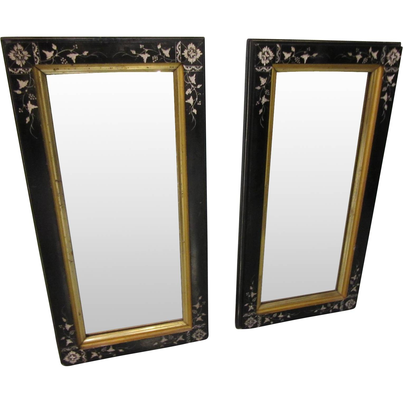 Pair Eastlake Black Carved Lacquer With Gold Framed Wall Mirrors for Black and Gold Wall Mirrors (Image 14 of 15)