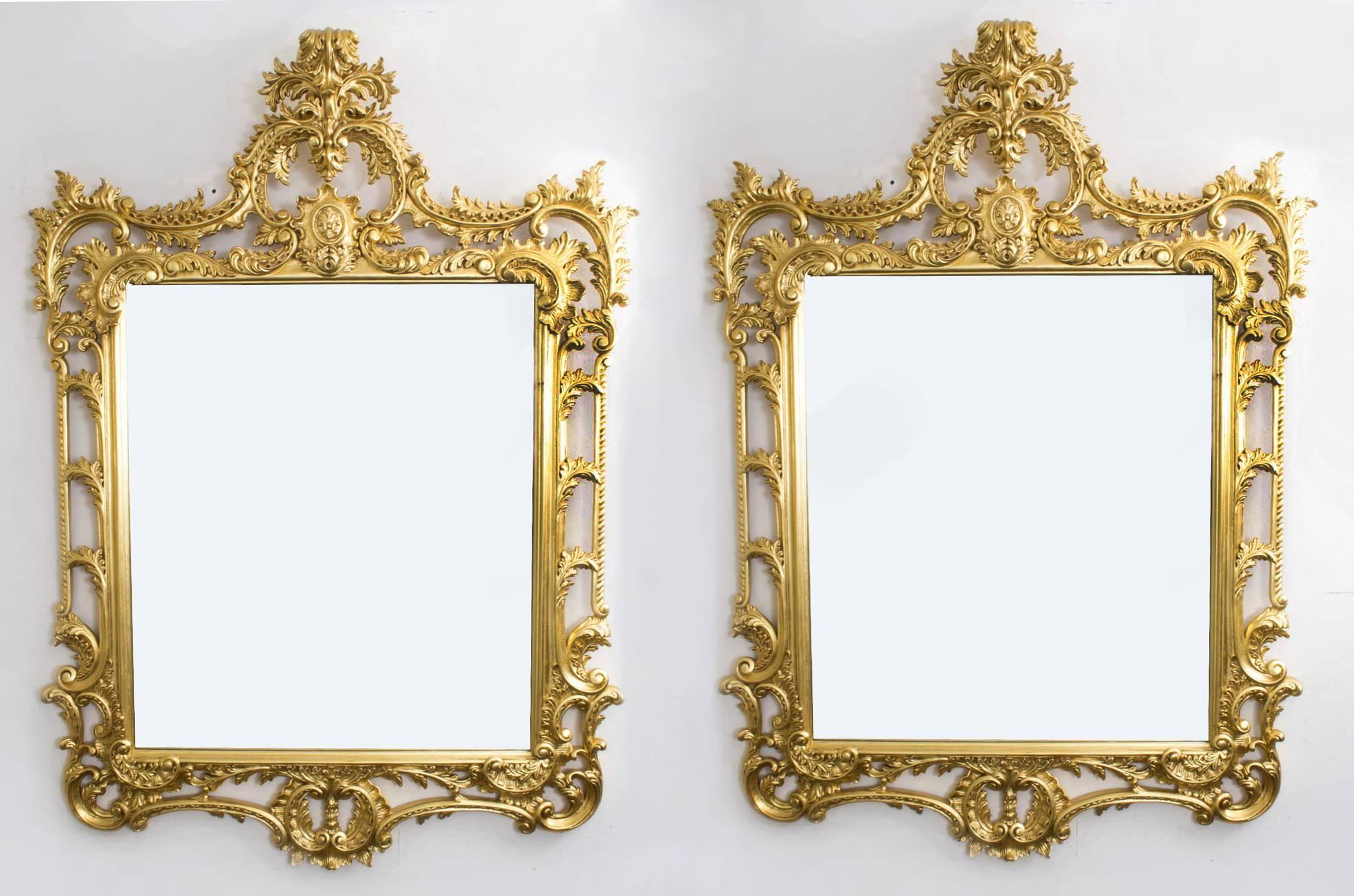 Pair Elaborate Gilded Hand Carved George Ii Style Mirrors | Vinterior regarding Elaborate Mirrors (Image 15 of 15)