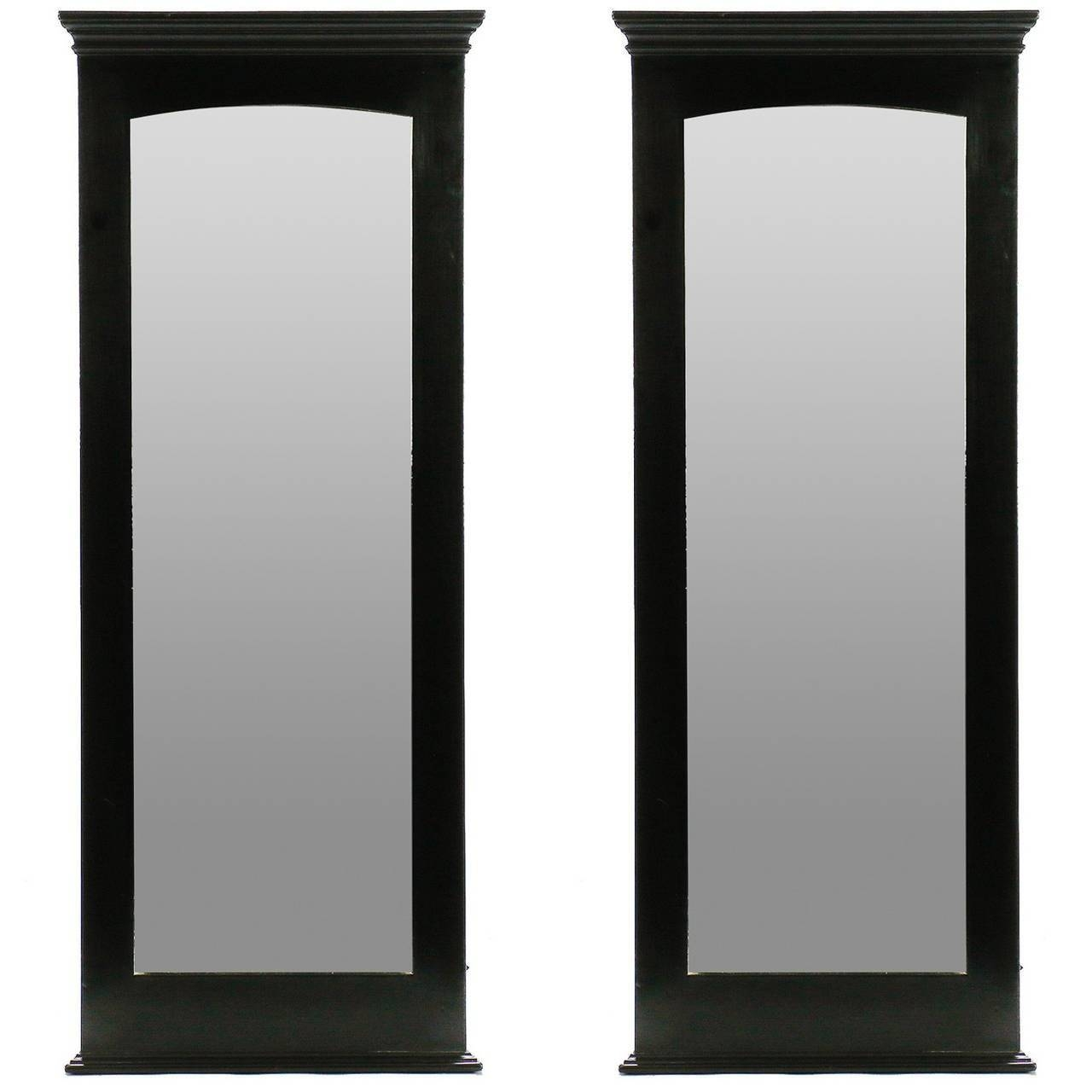 Pair Midcentury Tall Narrow Ebonised Mirrors For Sale At 1Stdibs for Tall Narrow Mirrors (Image 9 of 15)