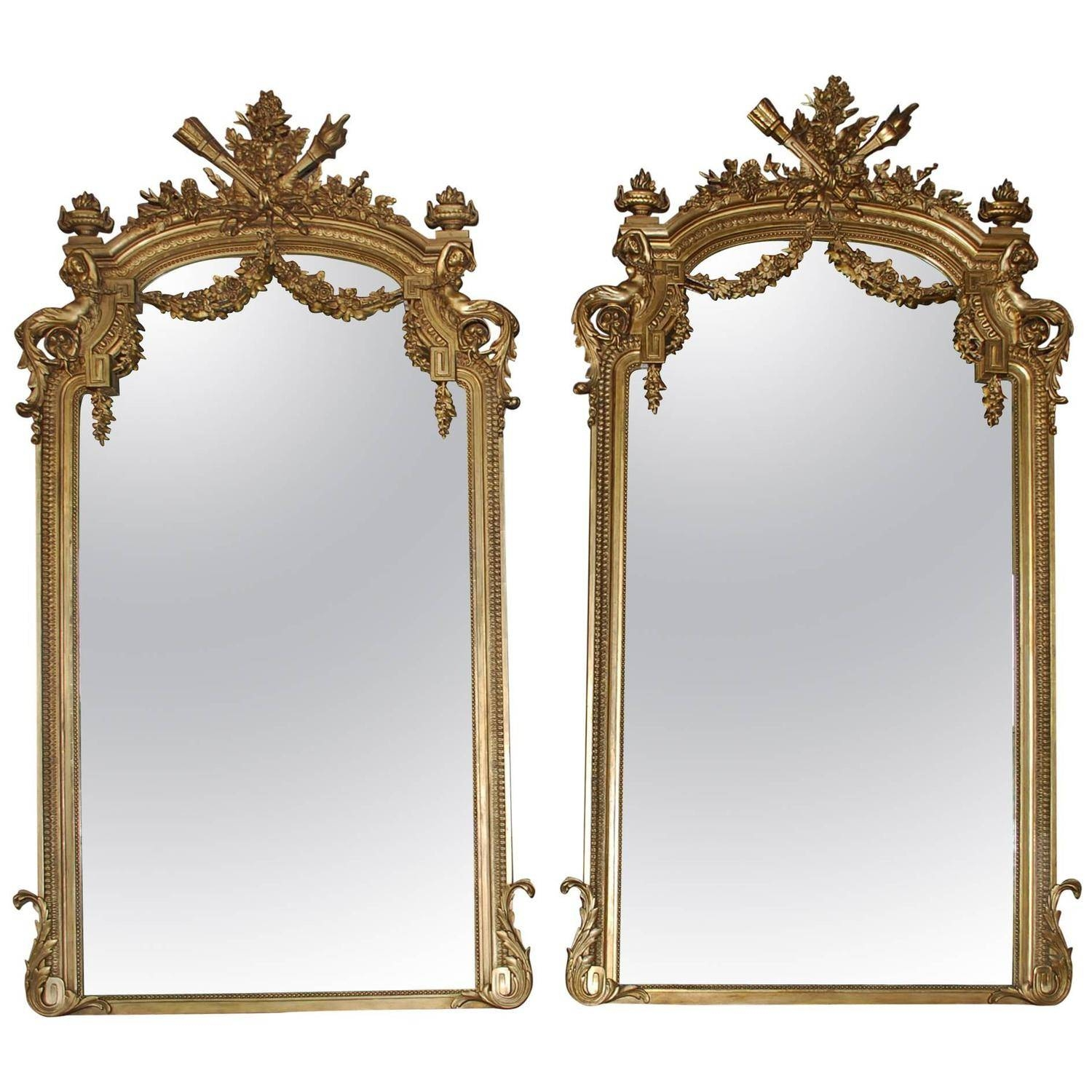 Pair Of 19Th Century Large Gold Gilded Mirror At 1Stdibs with Large Gold Antique Mirrors (Image 14 of 15)