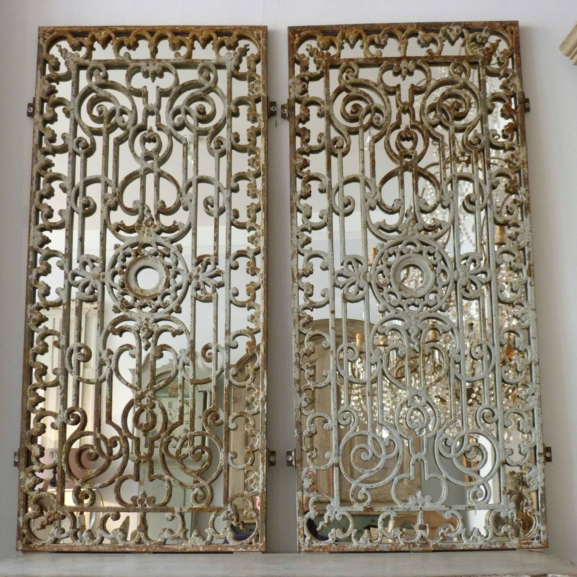Pair Of French 19Th Century Decorative Iron Grill Mirrors In From Pertaining To Large French Mirrors (View 15 of 15)