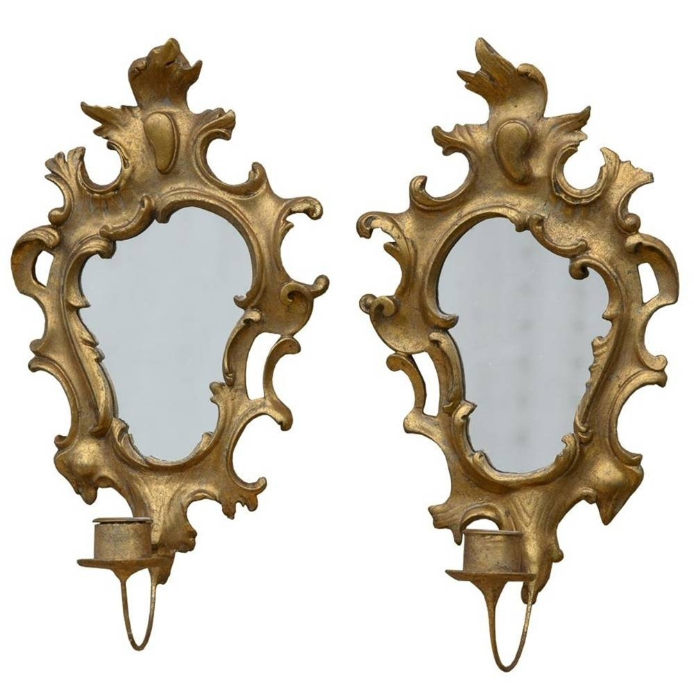 Pair Of Gold Gilt Leaf Antique French Style Mirrors throughout French Style Mirrors (Image 13 of 15)