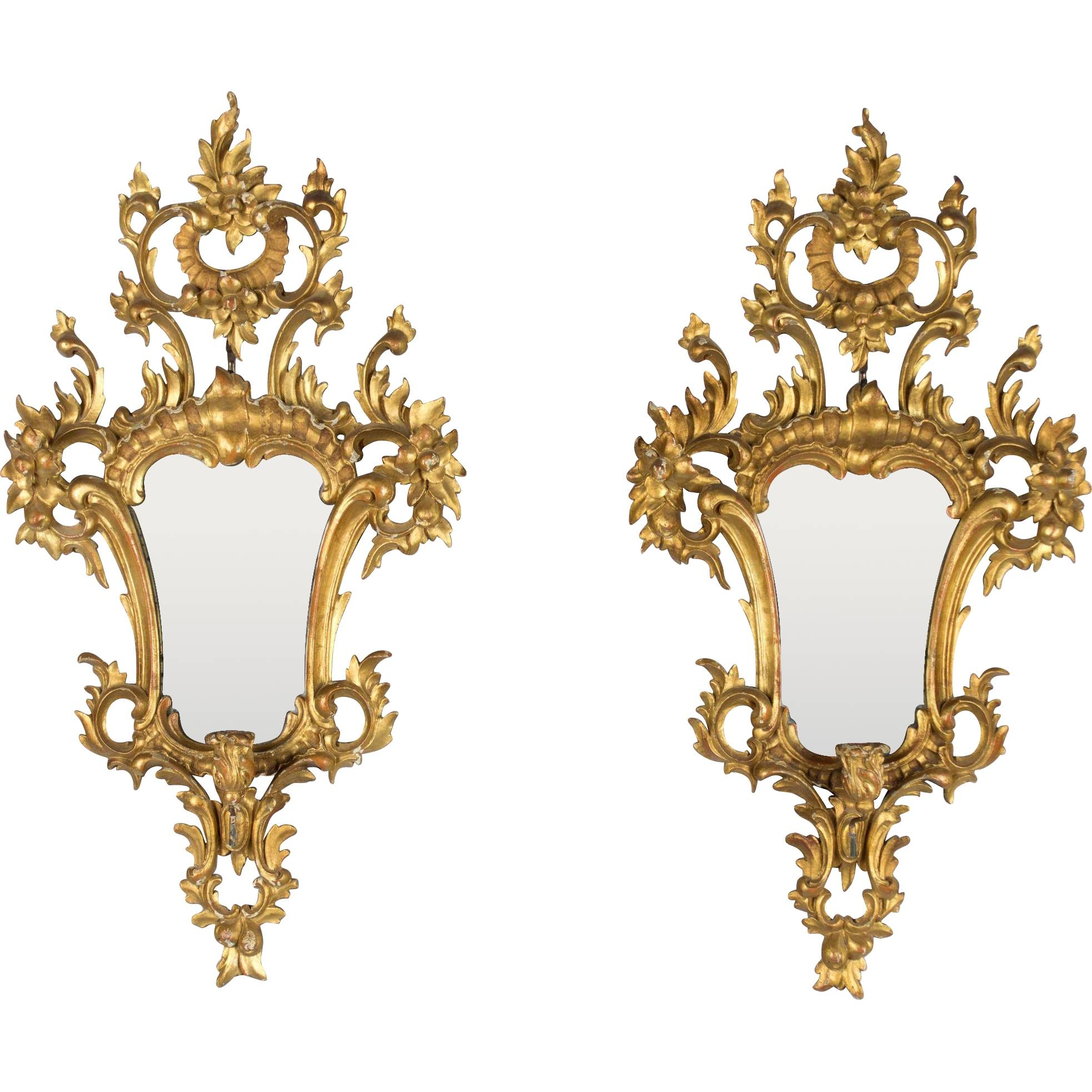 Pair Of Italian Rococo Style Mirrors With Candleholders From throughout Rococo Style Mirrors (Image 7 of 15)