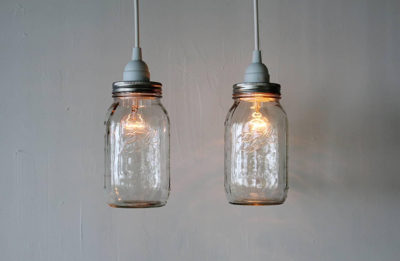 Pair Of Mason Jar Hanging Pendant Lights Upcycled Rustic regarding Wine Jug Pendant Lights (Image 13 of 15)