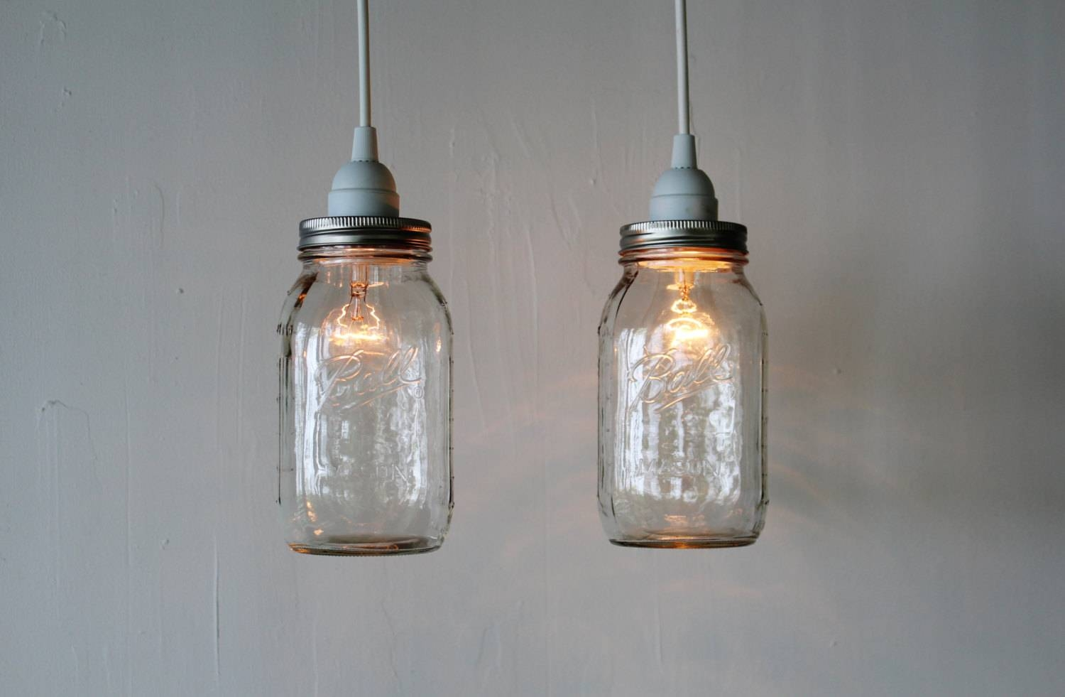 Pair Of Mason Jar Hanging Pendant Lights Upcycled Rustic within Etsy Pendant Lights (Image 10 of 15)