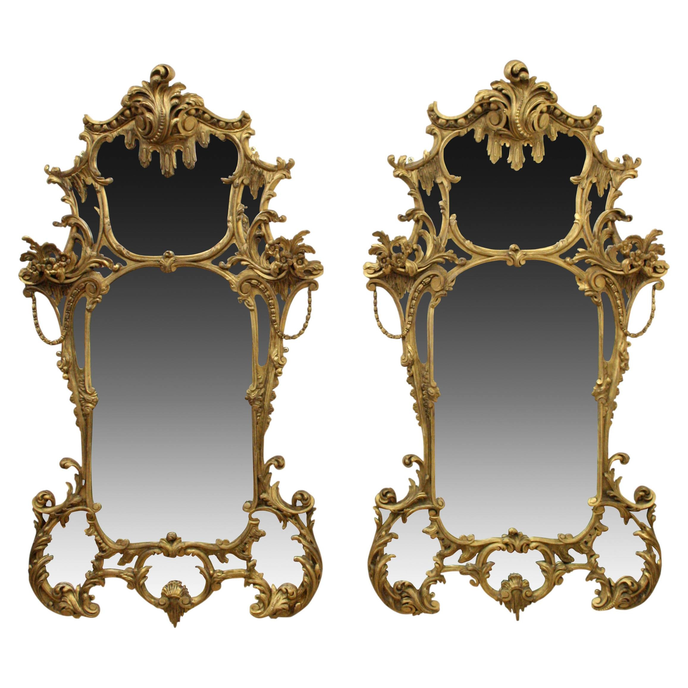 Pair Of Rococo Style Gilt Mirrors (C. 1860 United Kingdom) From pertaining to Rococo Style Mirrors (Image 8 of 15)