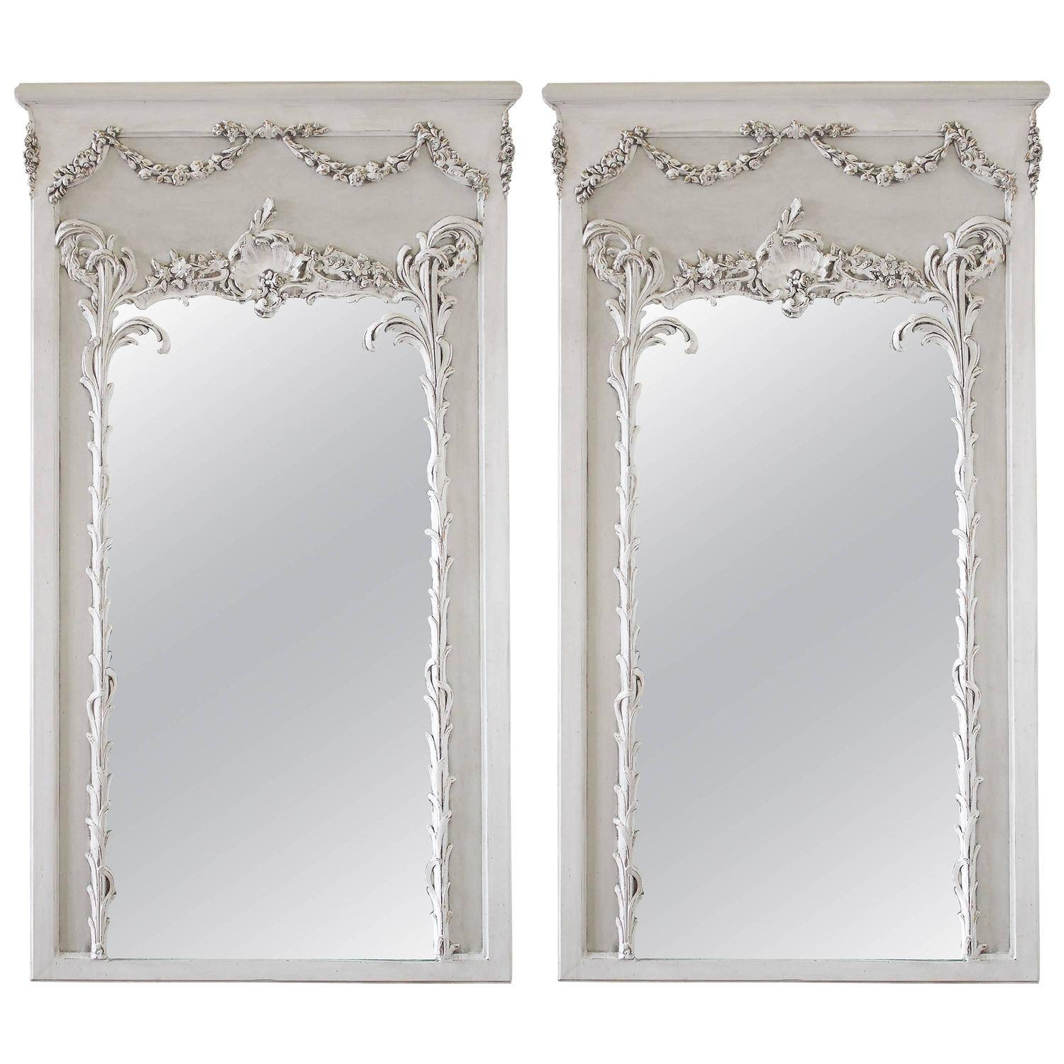 Pair Of Vintage French Style Painted Trumeau Mirrors With Rose with French Style Mirrors (Image 14 of 15)