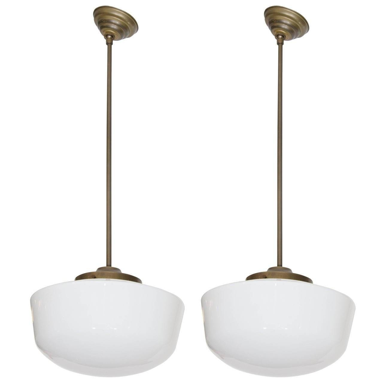 Pair Of Vintage Schoolhouse Milk Glass And Brass Pendant Lights pertaining to Milk Glass Pendant Light Fixtures (Image 10 of 15)