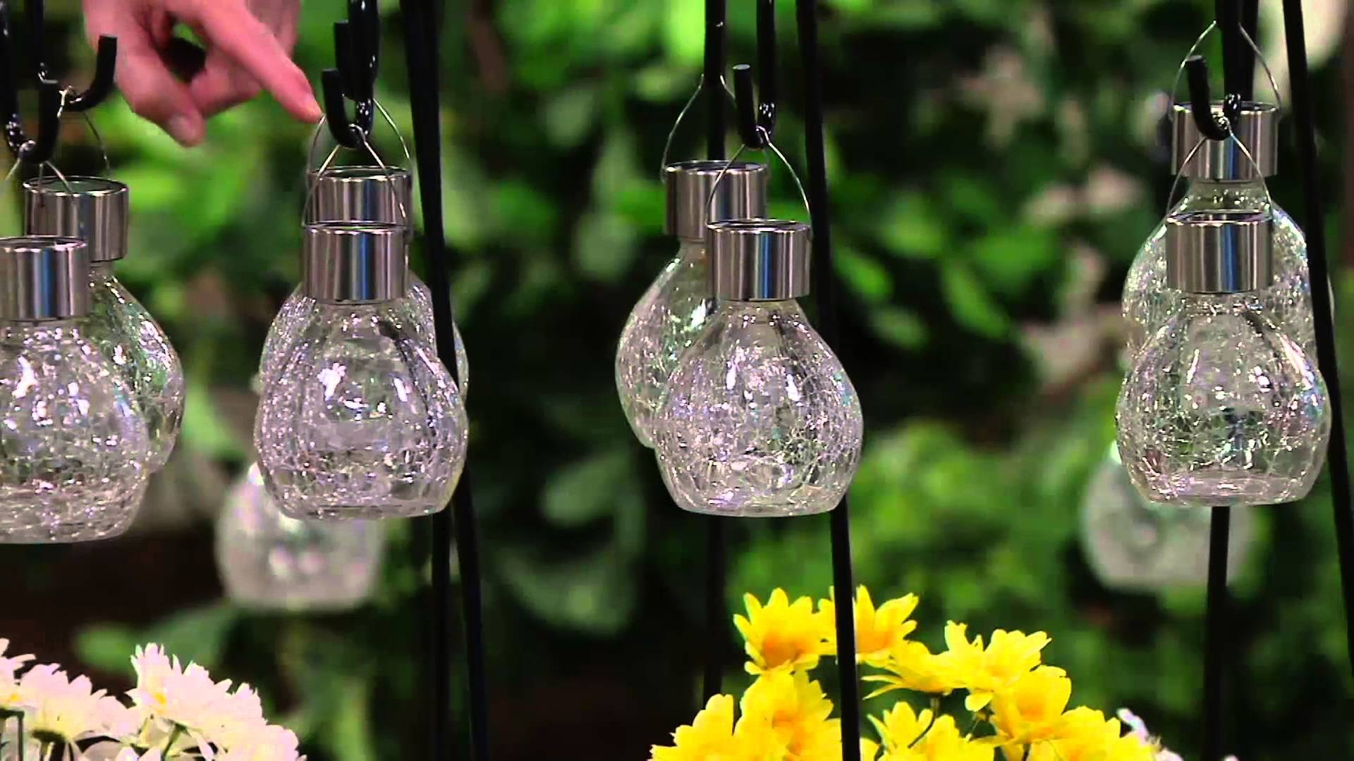 Paradise S/6 Solar Crackled Glass Hanging Lights W/shepherd Hook In Cracked Glass Pendant Lights (View 11 of 15)