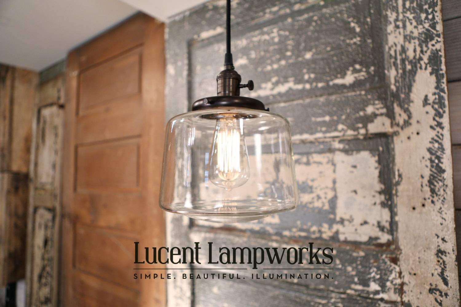 Pendant Fixture With Clear Glass Taper Drum 8 Inch pertaining to Etsy Pendant Lights (Image 11 of 15)
