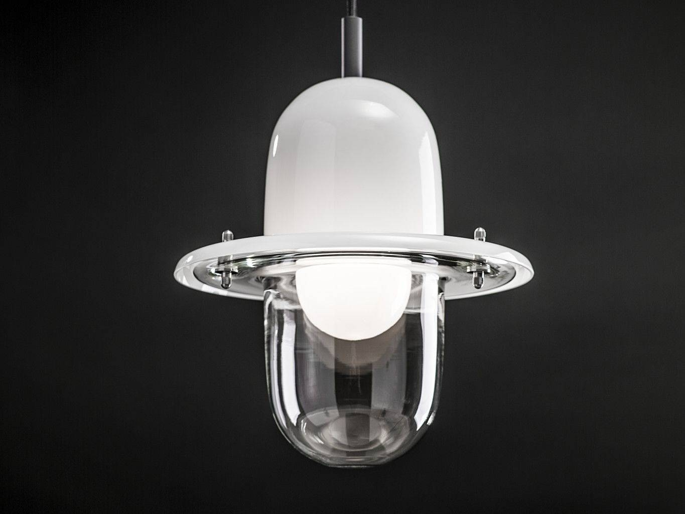 Pendant Lamp / Industrial Design / Glass / Stainless Steel - Hats regarding Stainless Steel Industrial Pendant Lights (Image 11 of 15)