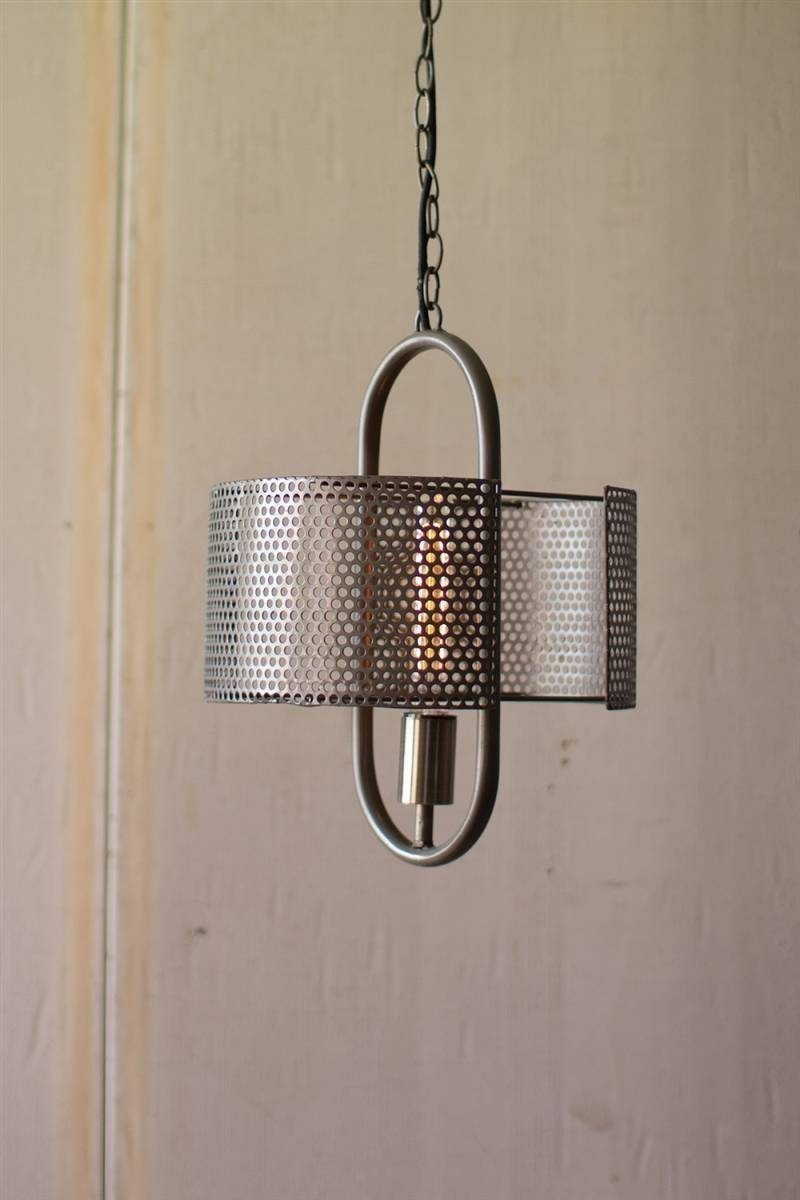 Pendant Lamp With Perforated Metal Shade with regard to Punched Metal Pendant Lights (Image 12 of 15)