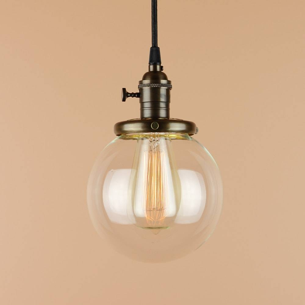 Pendant Lighting W/ 6 Inch Clear Glass Globe Antique Style Regarding Canada Pendant Light Fixtures (View 13 of 15)