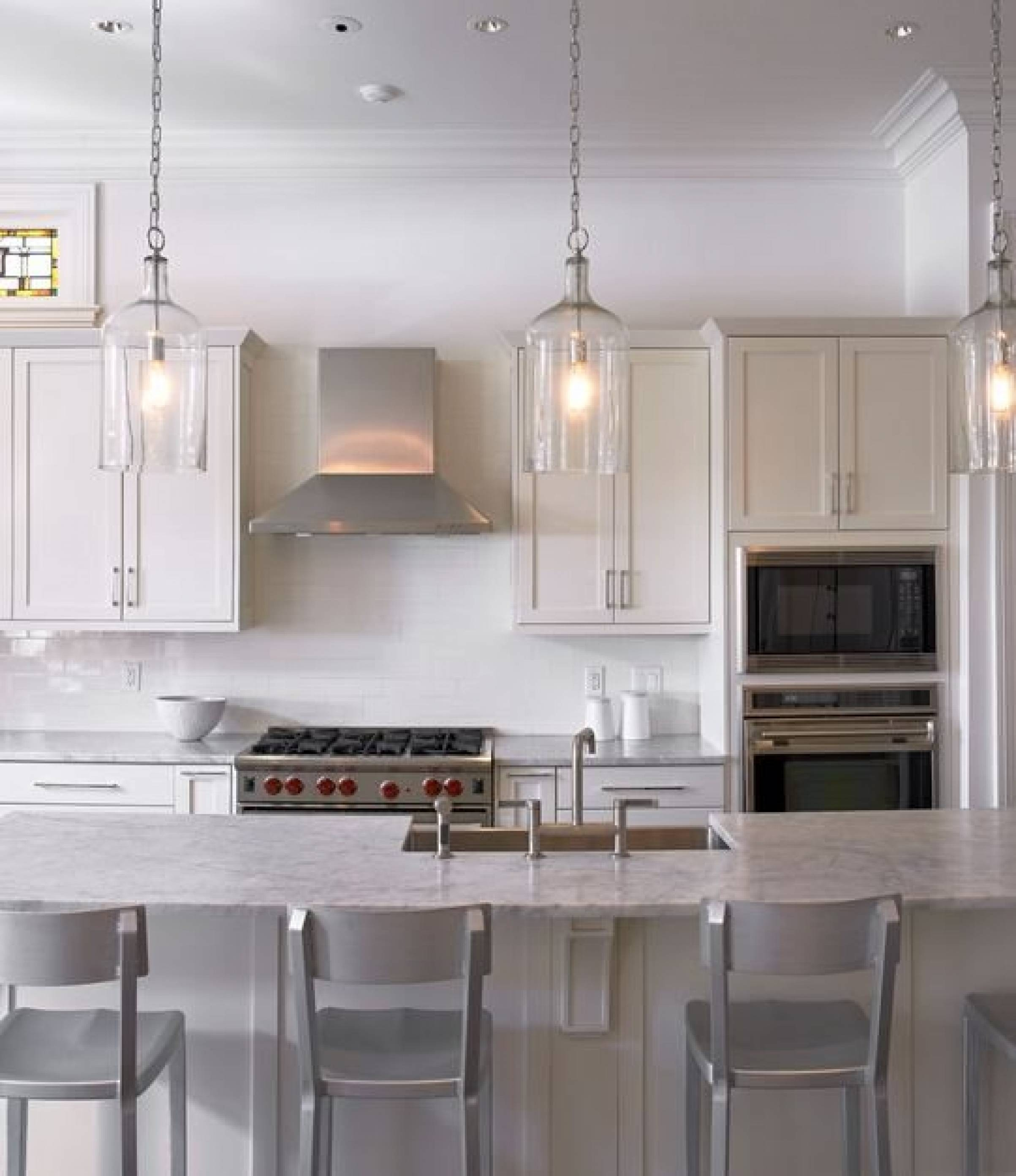 Perfect Clear Glass Pendant Lights For Kitchen Island 50 In Multi In Lighting Pendants For Kitchen Islands (View 10 of 15)