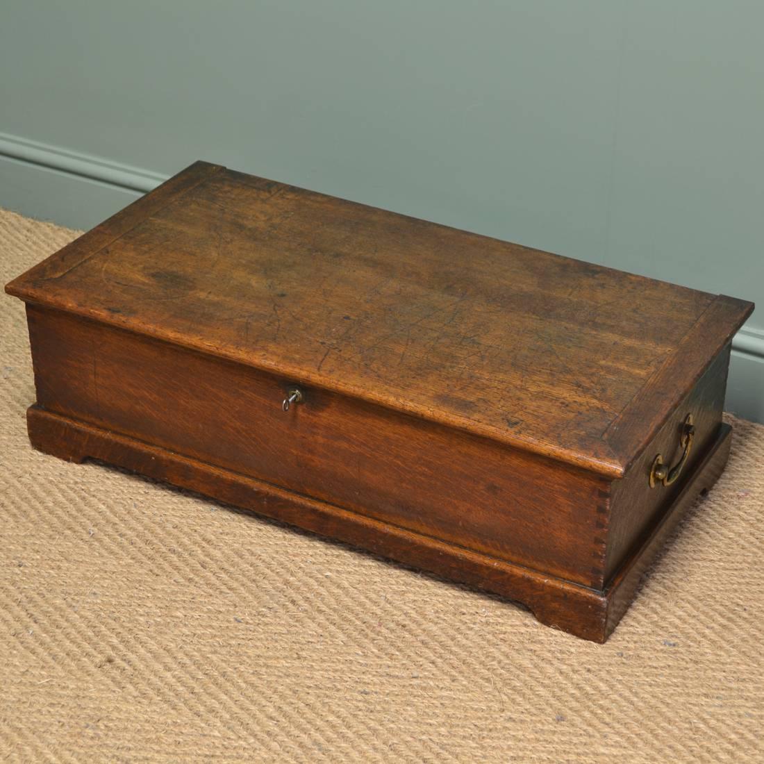 Period Georgian Oak Low Antique Coffer / Coffee Table - Antiques World in Low Oak Coffee Tables (Image 14 of 15)