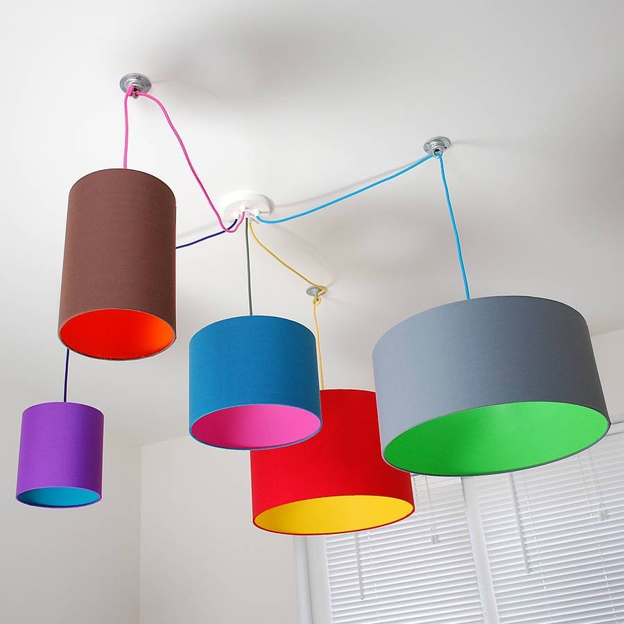 Pick And Mix Drum Lampshade Choice Of Coloursquirk regarding Pendant Lights With Coloured Cord (Image 13 of 15)