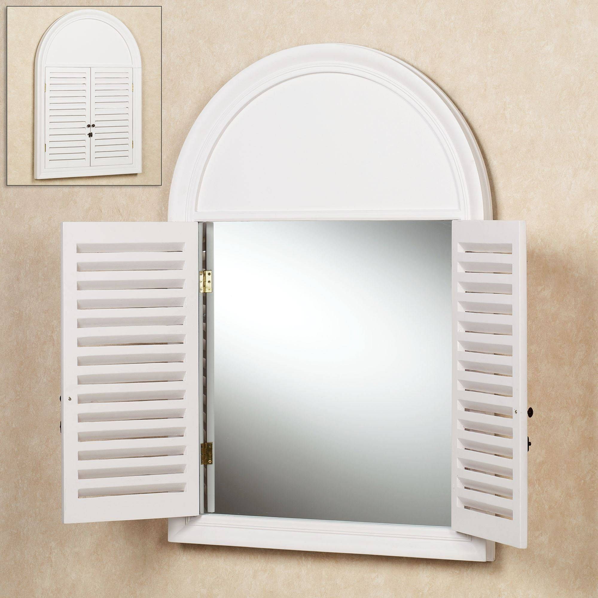 Plymouth Arched Shutter Wall Mirror inside Window Shutter Mirrors (Image 9 of 15)