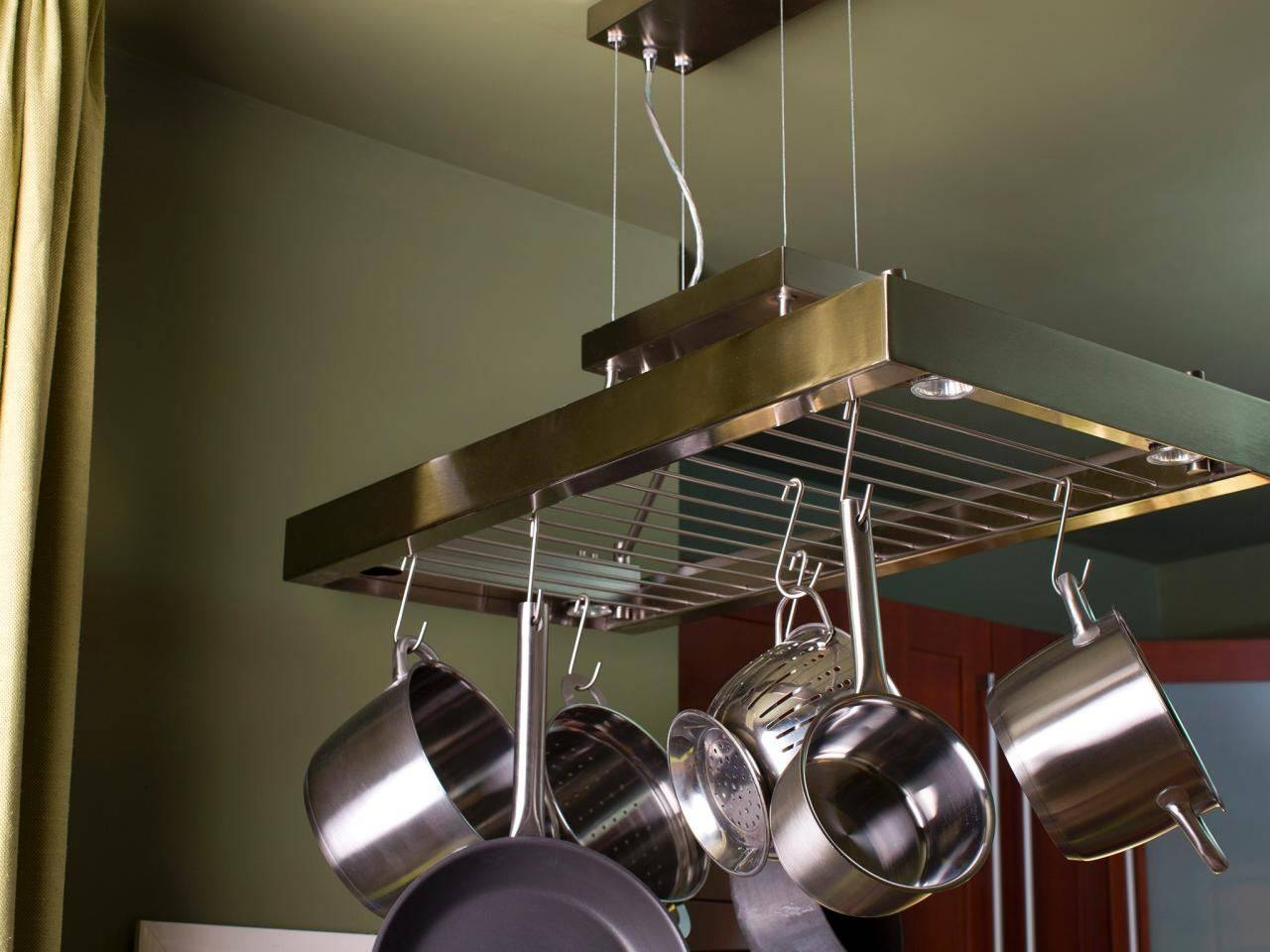 Pot Rack Ideas Stainless Steel Sink Double Built In Oven Brown intended for Kitchen Pendant Lights With Pot Rack (Image 15 of 15)