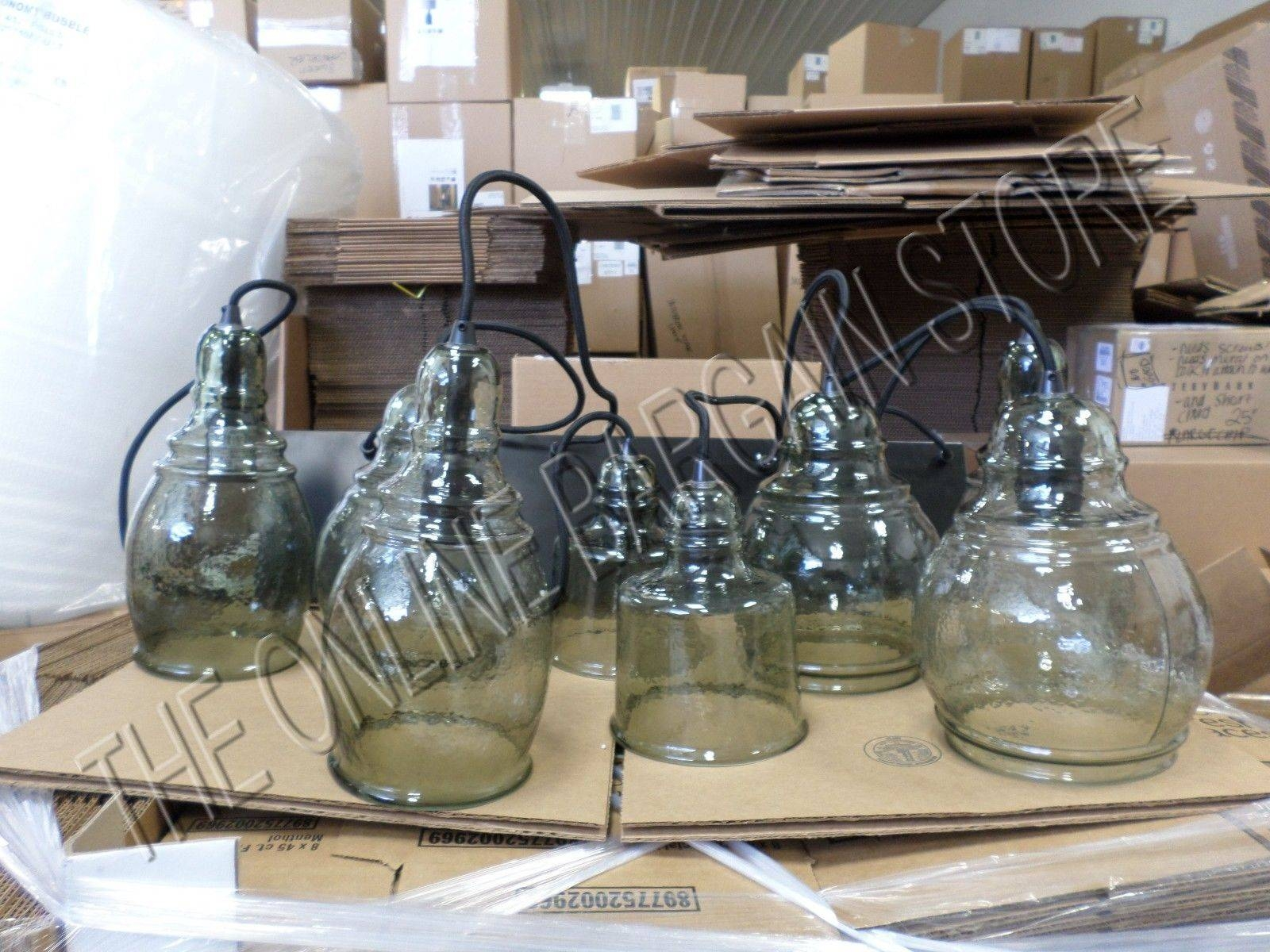 Pottery Barn Paxton Farmhouse Glass 8 Light Pendant Chandelier in Paxton Glass 8 Light Pendants (Image 15 of 15)