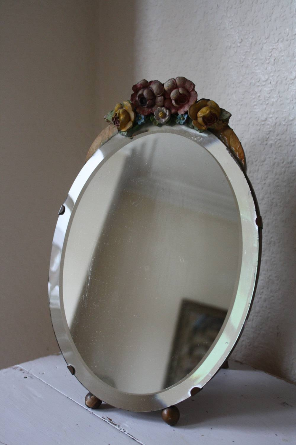 Pretty Freestanding Vintage Barbola Dressing Table Mirror | Vinterior intended for Free Standing Mirrors for Dressing Table (Image 11 of 15)