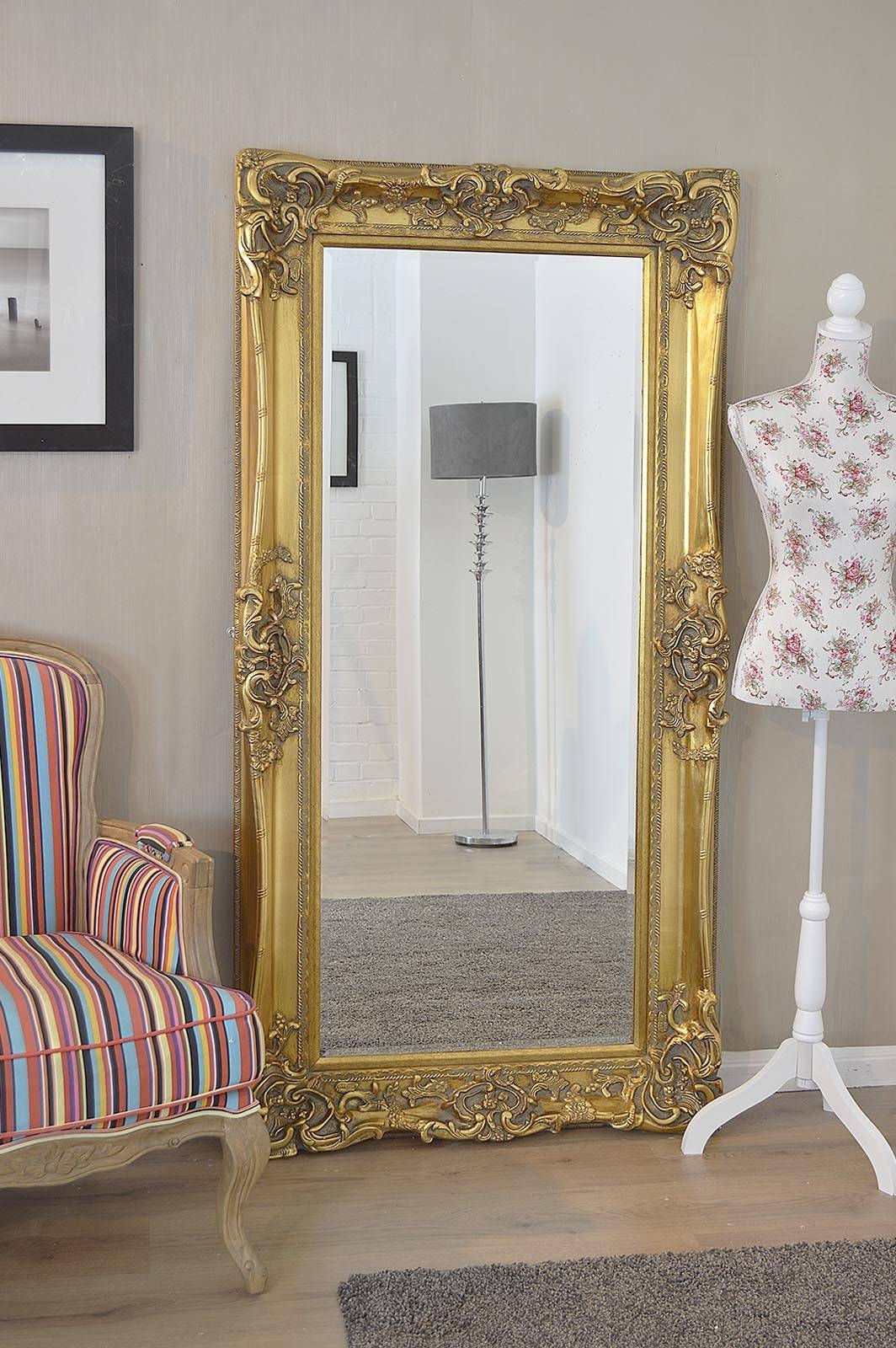 Pretty Vintage French Mirror And Antique French Floor Mirror in Oversized Antique Mirrors (Image 15 of 15)