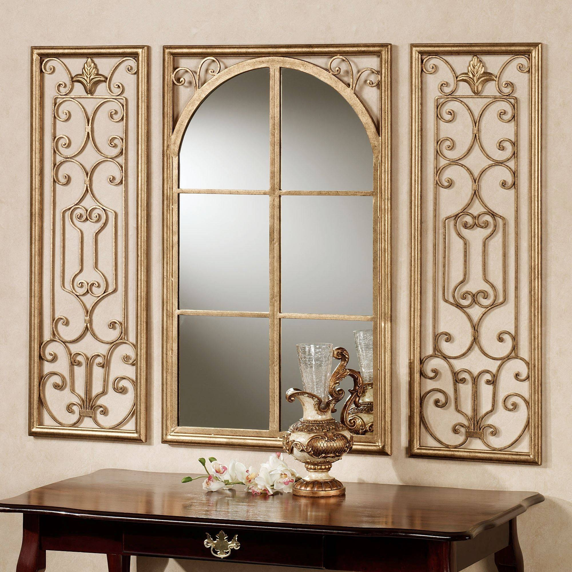 Provence Bronze Finish Wall Mirror Set with Large Bronze Mirrors (Image 11 of 15)