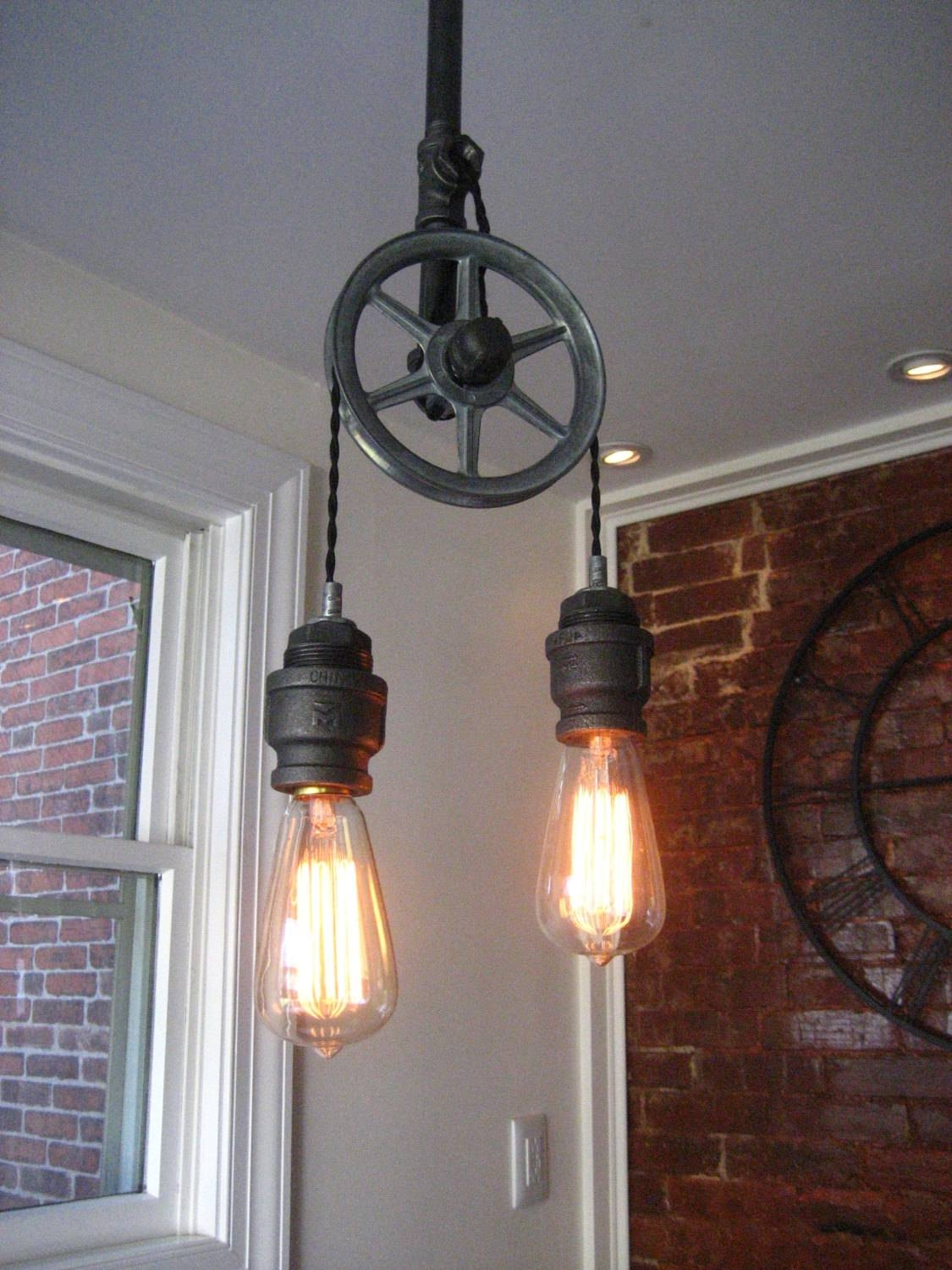 Pulley Light Metal Light Steampunk Ceiling Light pertaining to Pulley Lights Fixture (Image 12 of 15)