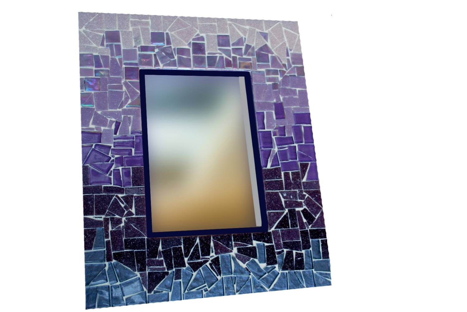 Purple Ombre Mosaic Mirror Large Wall Mirror Colorful Home Inside Large Mosaic Mirrors (View 13 of 15)