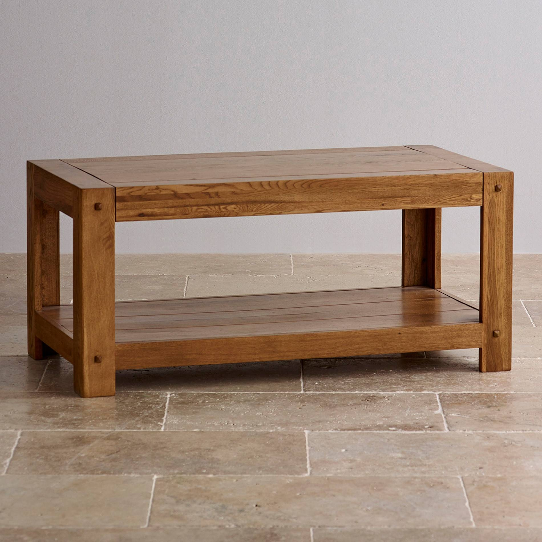 Quercus Coffee Table In Rustic Solid Oak | Oak Furniture Land Within Oak Wood Coffee Tables (View 3 of 15)