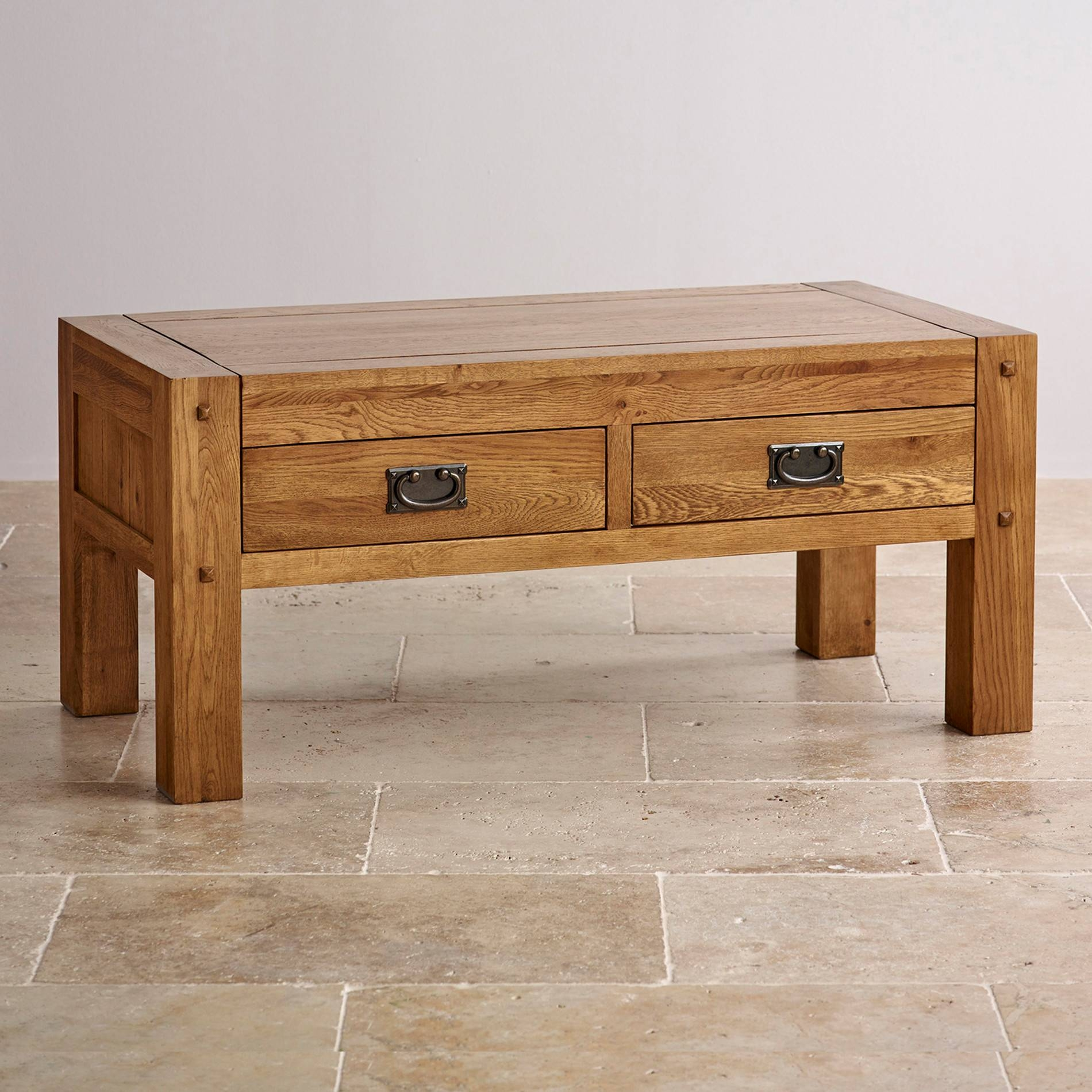 Quercus Coffee Table | Rustic Solid Oak | Oak Furniture Land regarding Oak Coffee Tables With Storage (Image 12 of 15)
