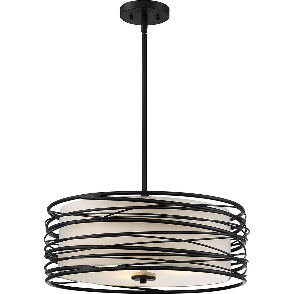 Quoizel Spl2820K Spiral Contemporary Mystic Black Drum Hanging with Black Drum Pendants (Image 14 of 15)