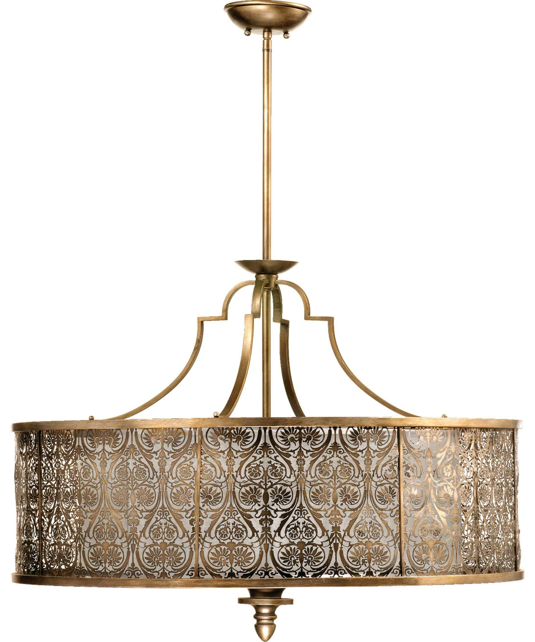 Quorum International 8197 5 French Damask 36 Inch Wide 5 Light Intended For Quorum Pendant Lights (View 9 of 15)