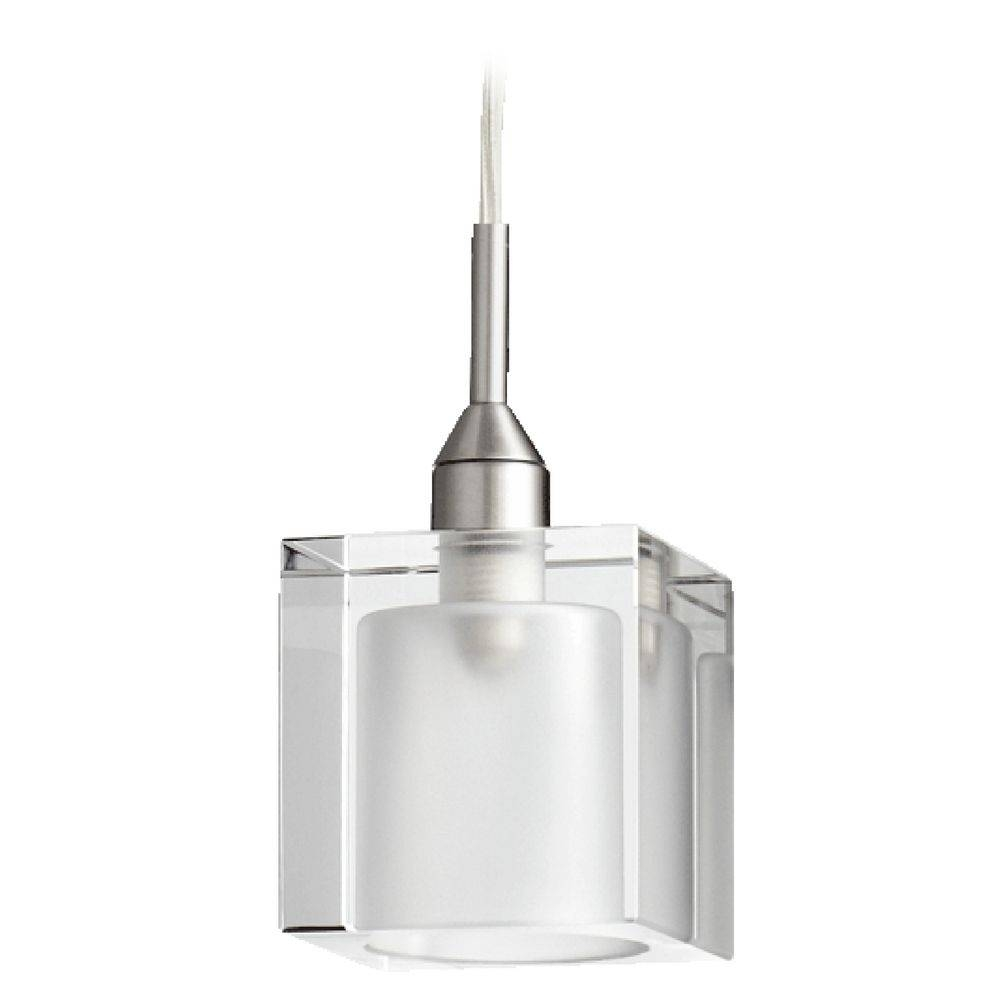 Quorum Lighting Satin Nickel Clear And White Mini Pendant Light Inside Quorum Pendant Lights (View 4 of 15)