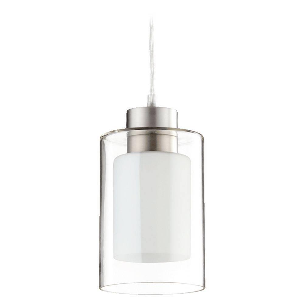 Quorum Lighting Satin Nickel Clear And White Mini Pendant Light Regarding Quorum Pendant Lights (View 3 of 15)