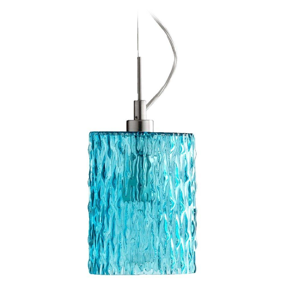 Quorum Lighting Satin Nickel W/ Aqua Mini Pendant Light With Pertaining To Quorum Pendant Lights (View 11 of 15)
