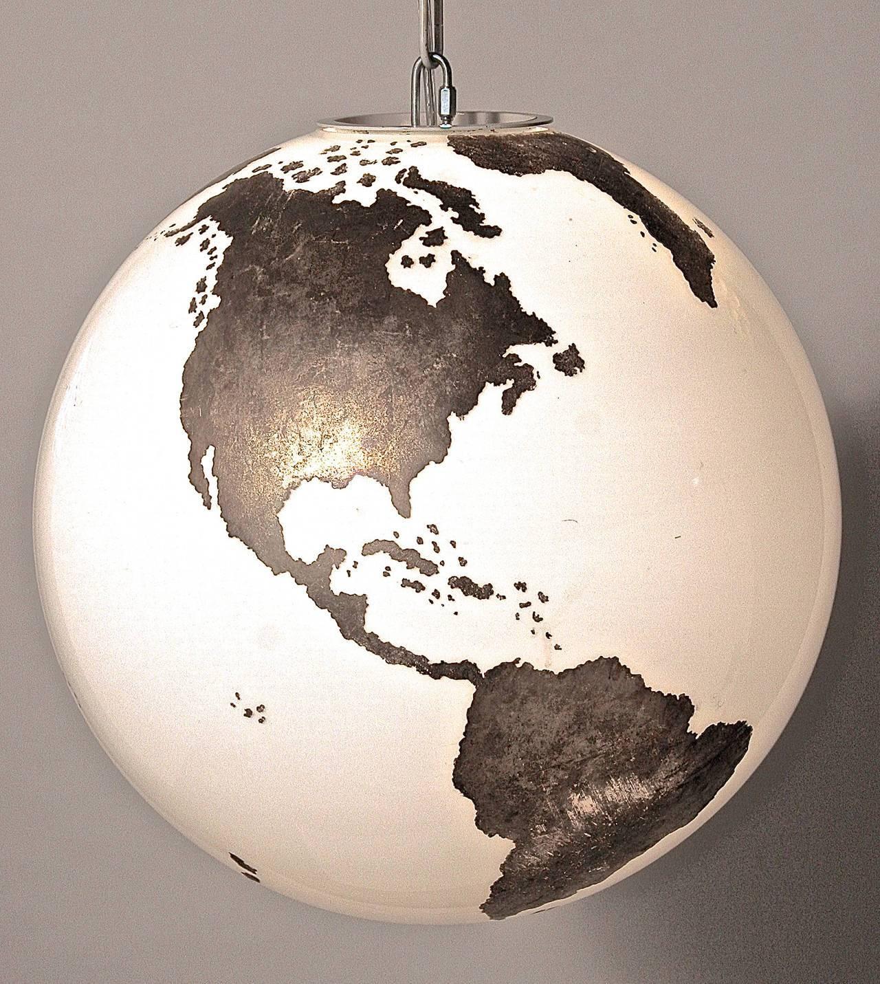 Rare Map Of The World Italian Murano Pendant Light At 1Stdibs inside World Globe Pendant Lights (Image 14 of 15)