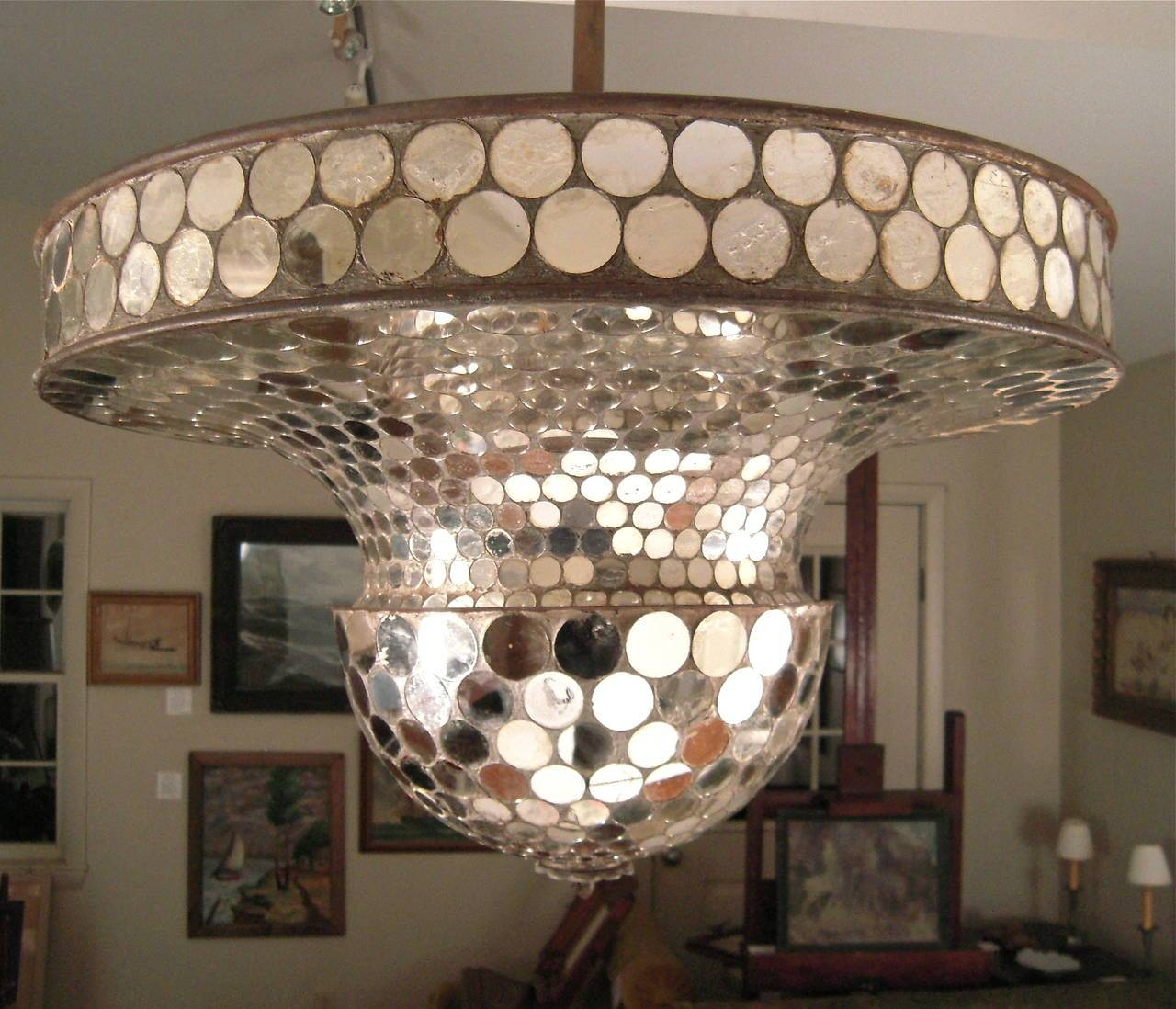 Rare Working Mirrored Stardust Ballroom Light, Early Disco Ball At regarding Disco Ball Ceiling Lights Fixtures (Image 15 of 15)