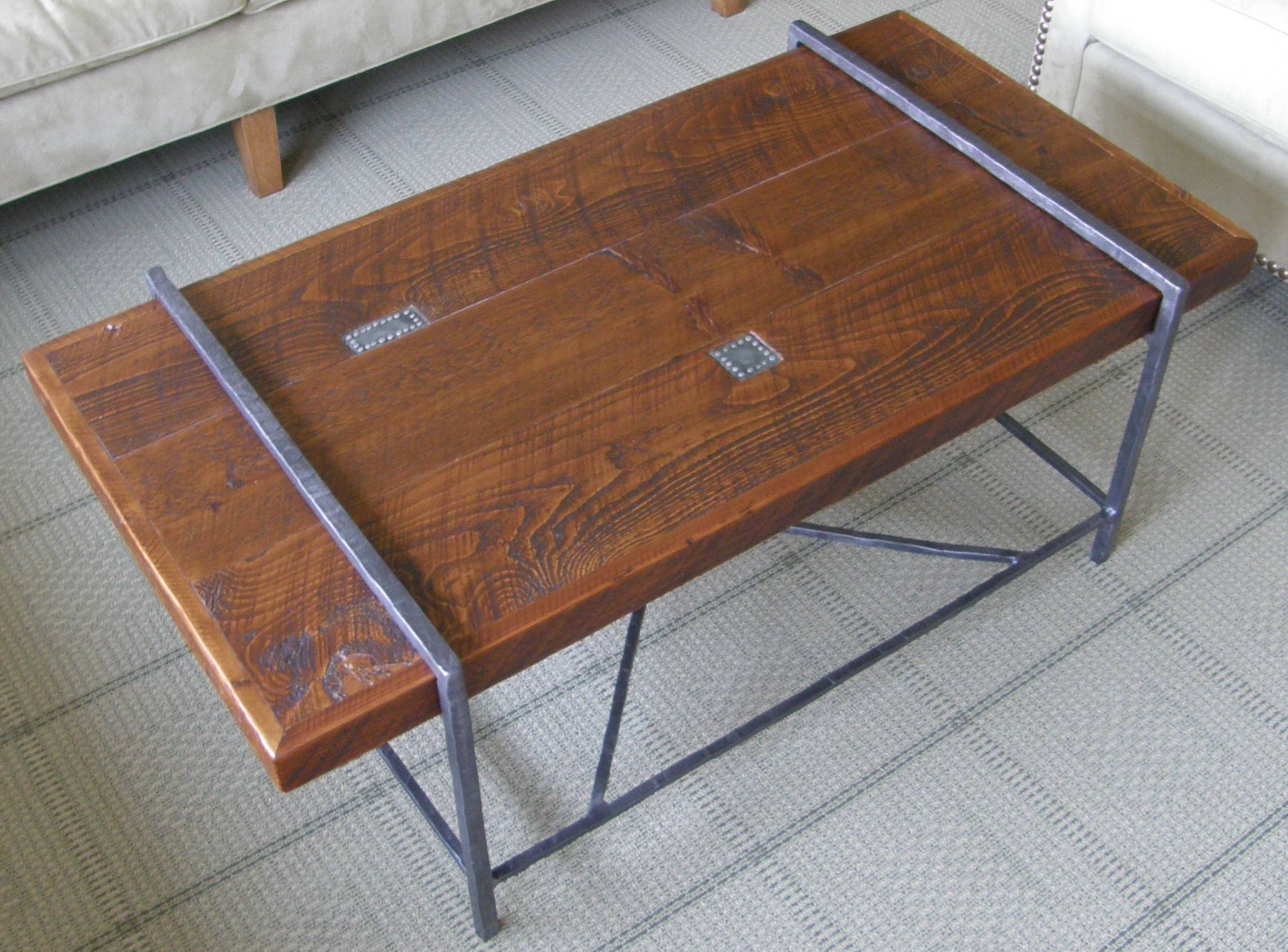 Reclaimed Wood Coffee Table Top With Metal Base - Youtube with regard to Wood And Steel Coffee Table (Image 11 of 15)
