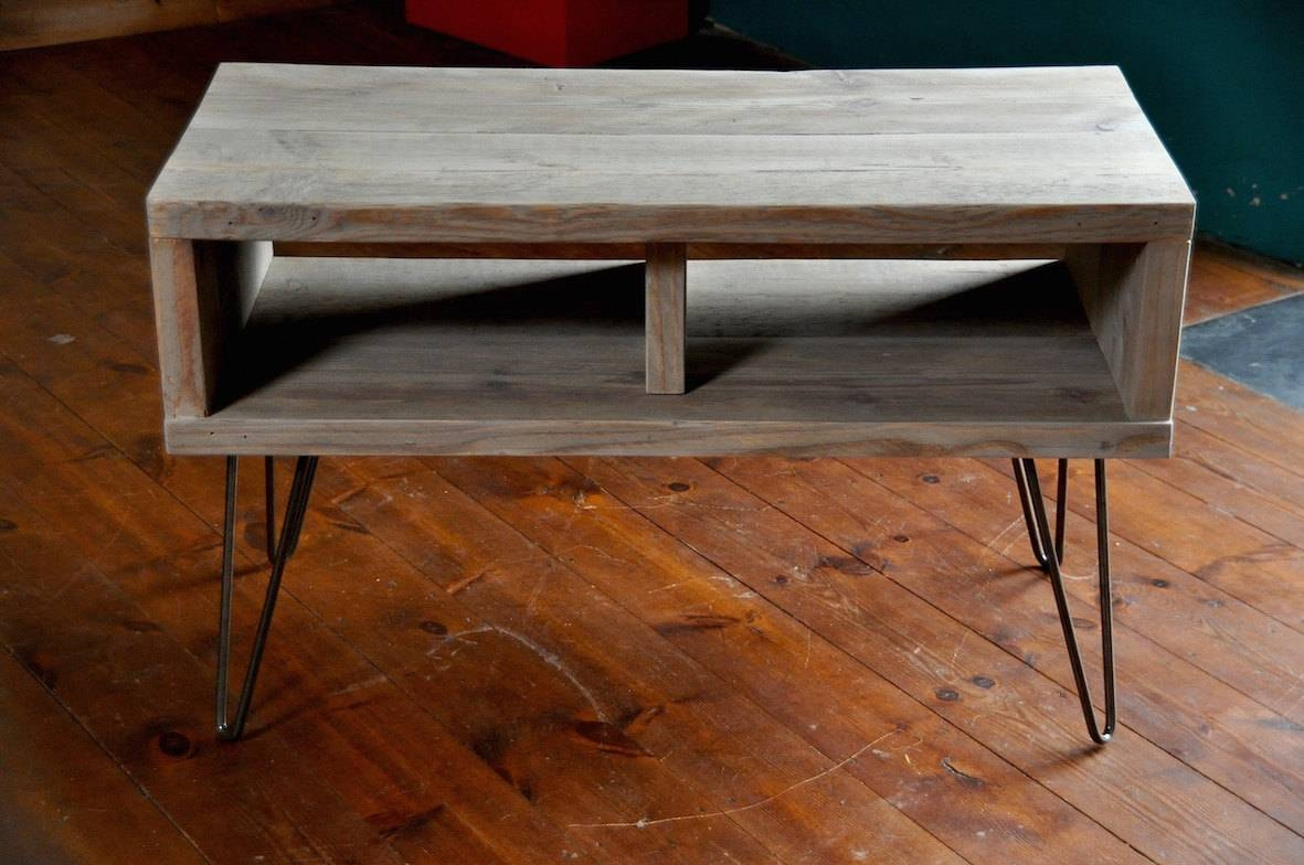 Reclaimed Wood Coffee Table Tv Stand Hairpin Steel Legs regarding Rustic Coffee Table And Tv Stand (Image 14 of 15)